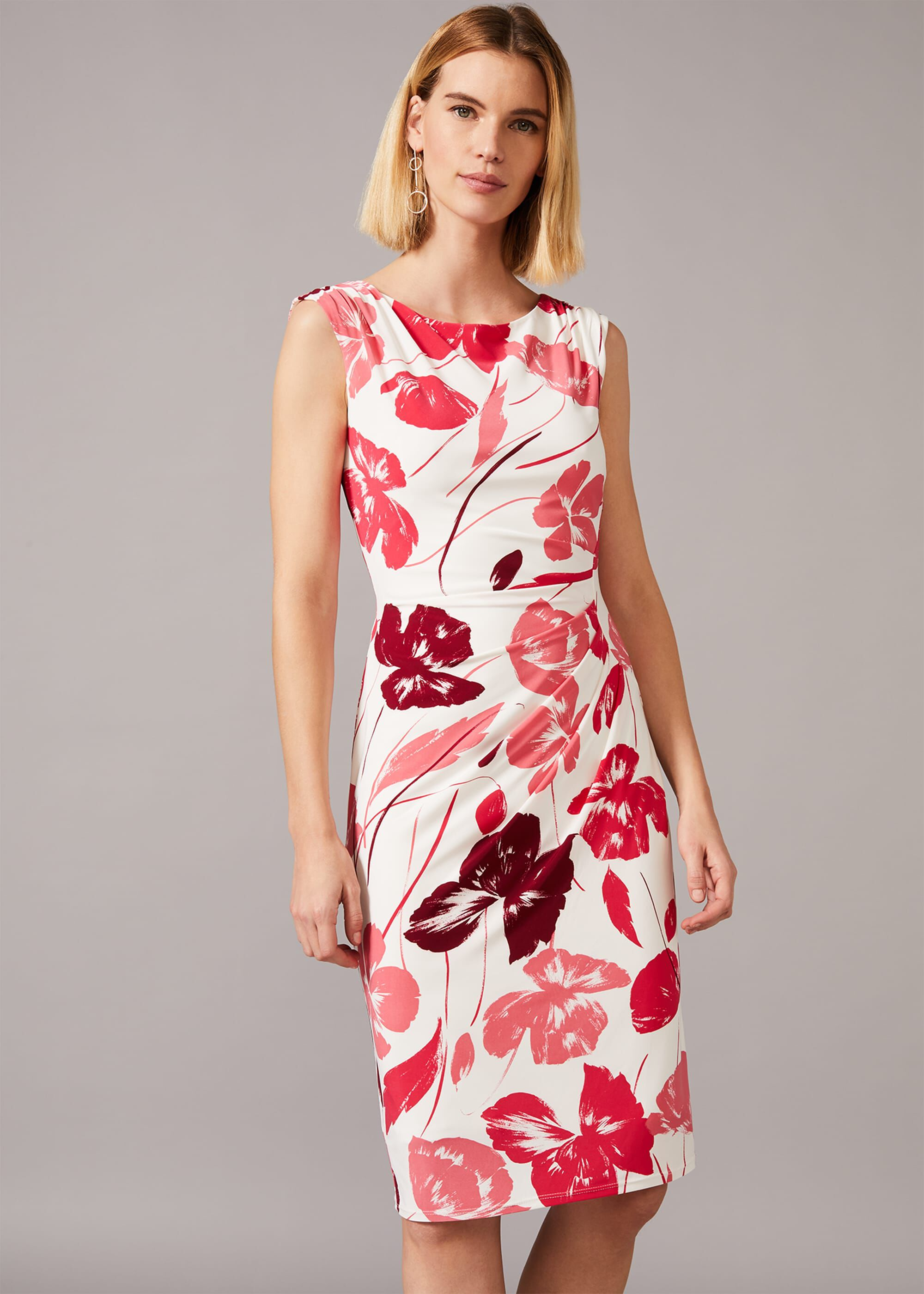 Phase Eight Alexi Floral Jersey Dress, Cream, Fitted, Occasion Dress