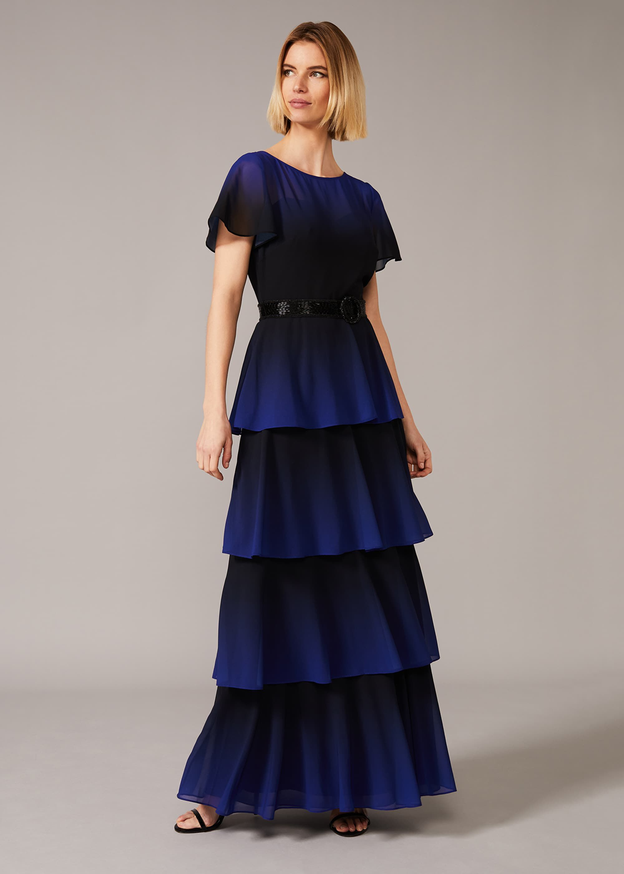 Phase Eight Rosalie Dipdye Tiered Dress, Black, Maxi, Occasion Dress
