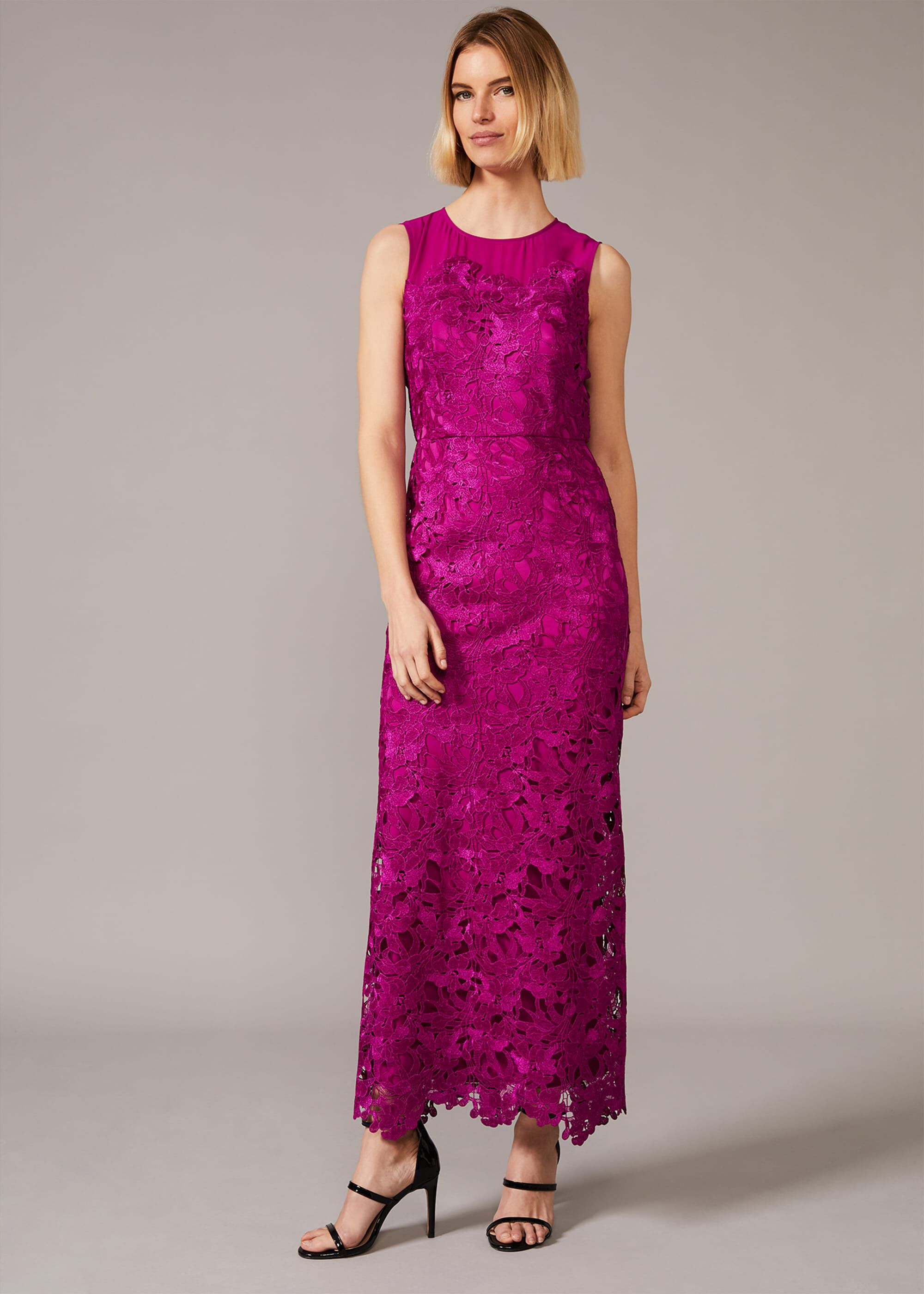 Phase Eight Bessie Lace Maxi Dress, Pink, Maxi, Occasion Dress
