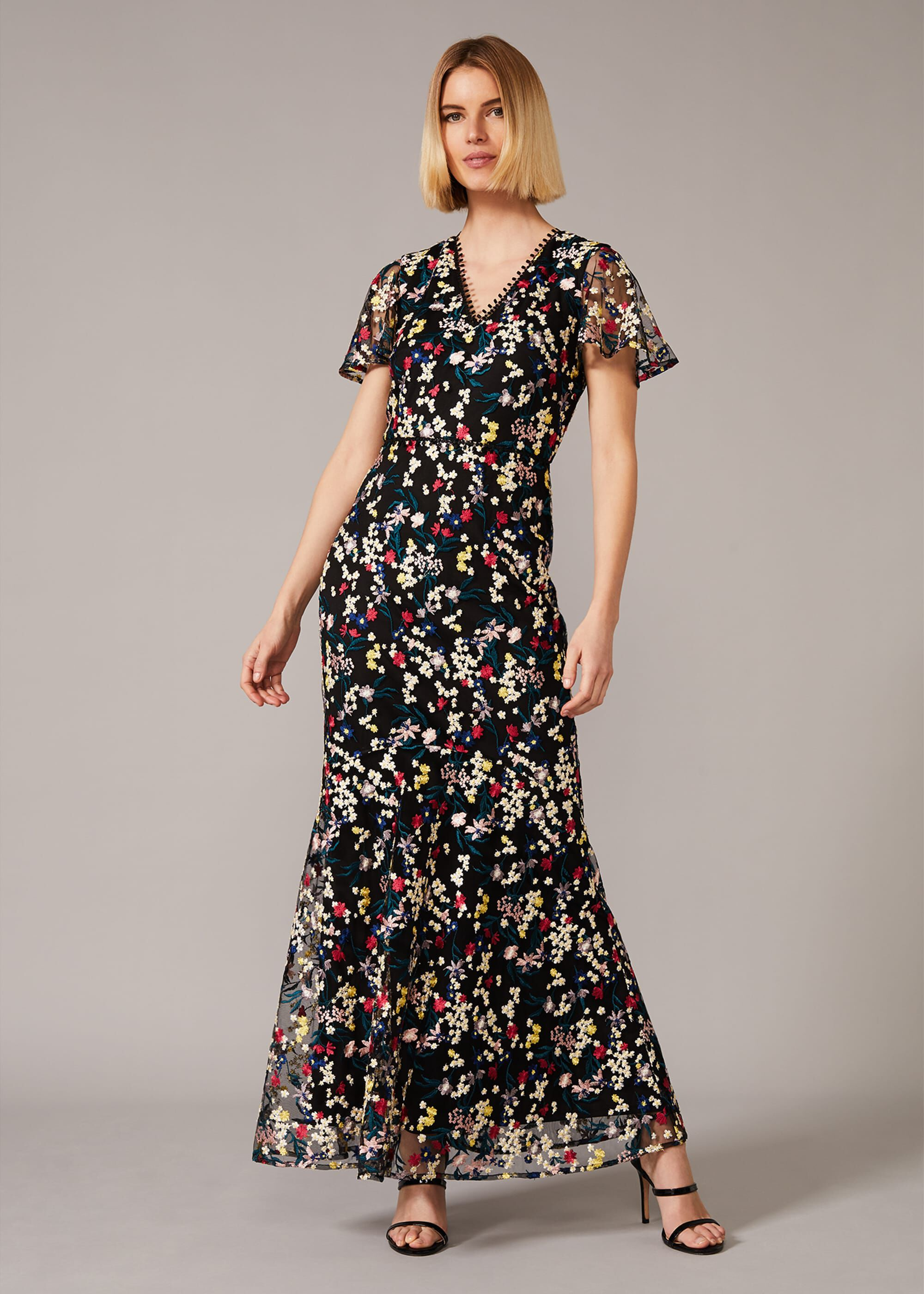 Phase Eight Daiva Embroidered Fishtail Dress, Multicoloured, Maxi, Occasion Dress