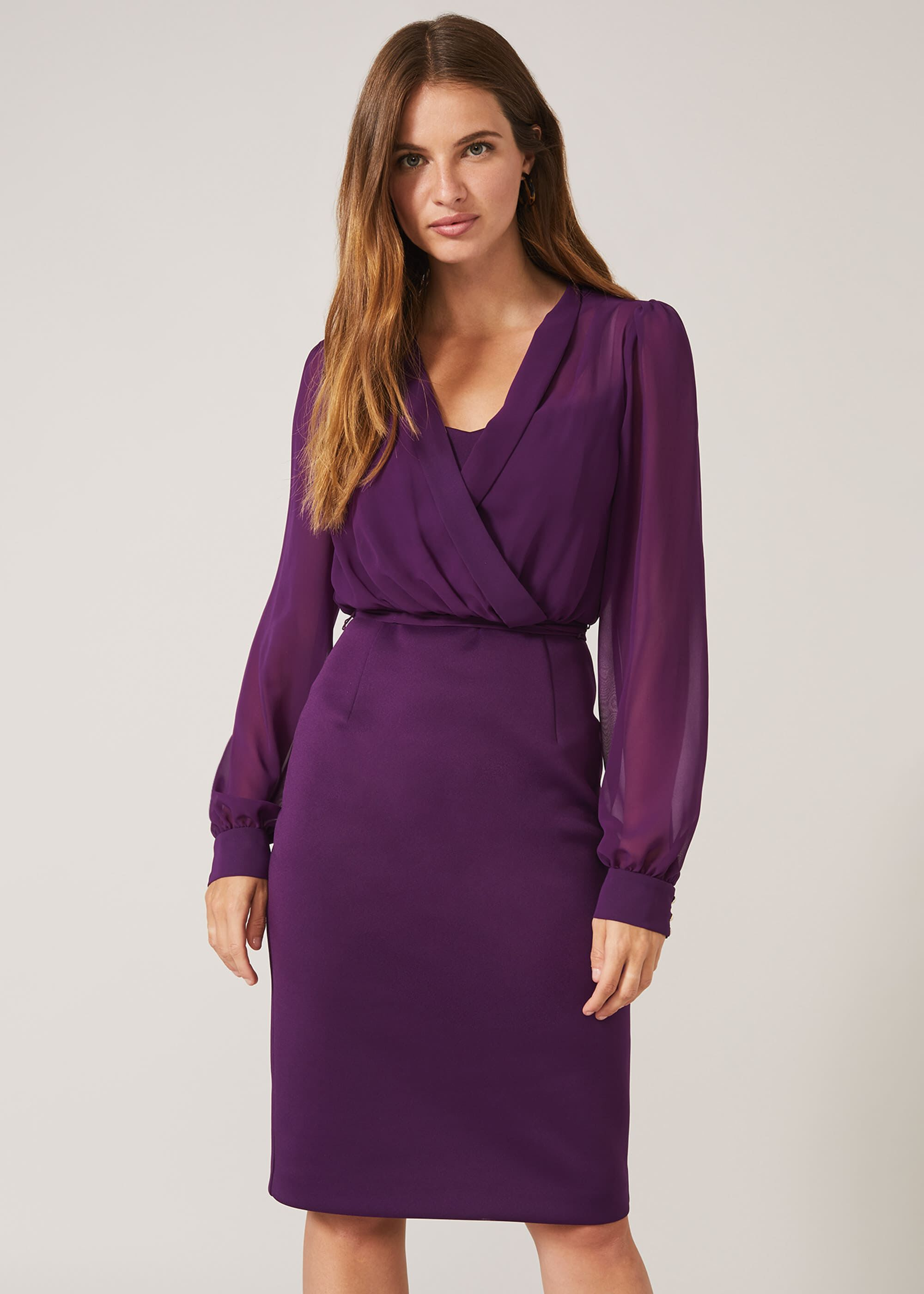 Phase Eight Sian Scuba Dress, Purple, Fitted, Occasion Dress