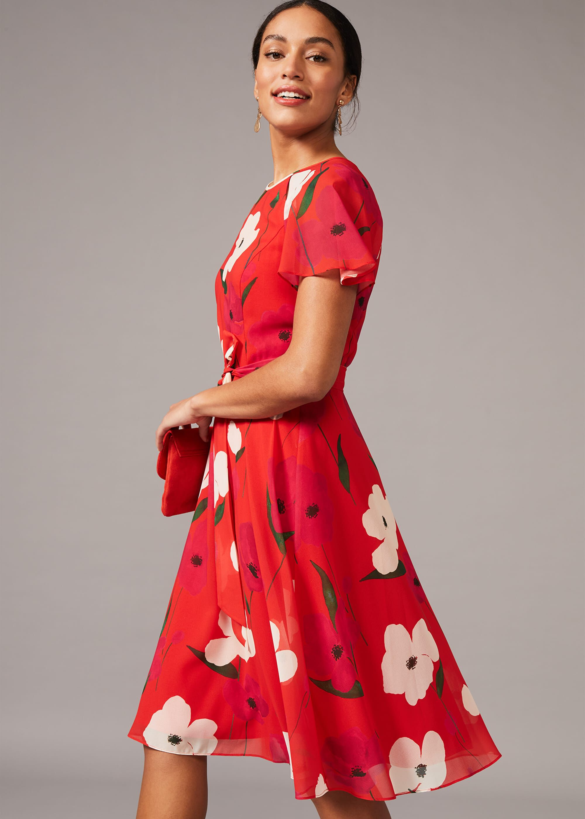 Phase Eight Lou-Poppy Floral Tea Dress, Red, Swing
