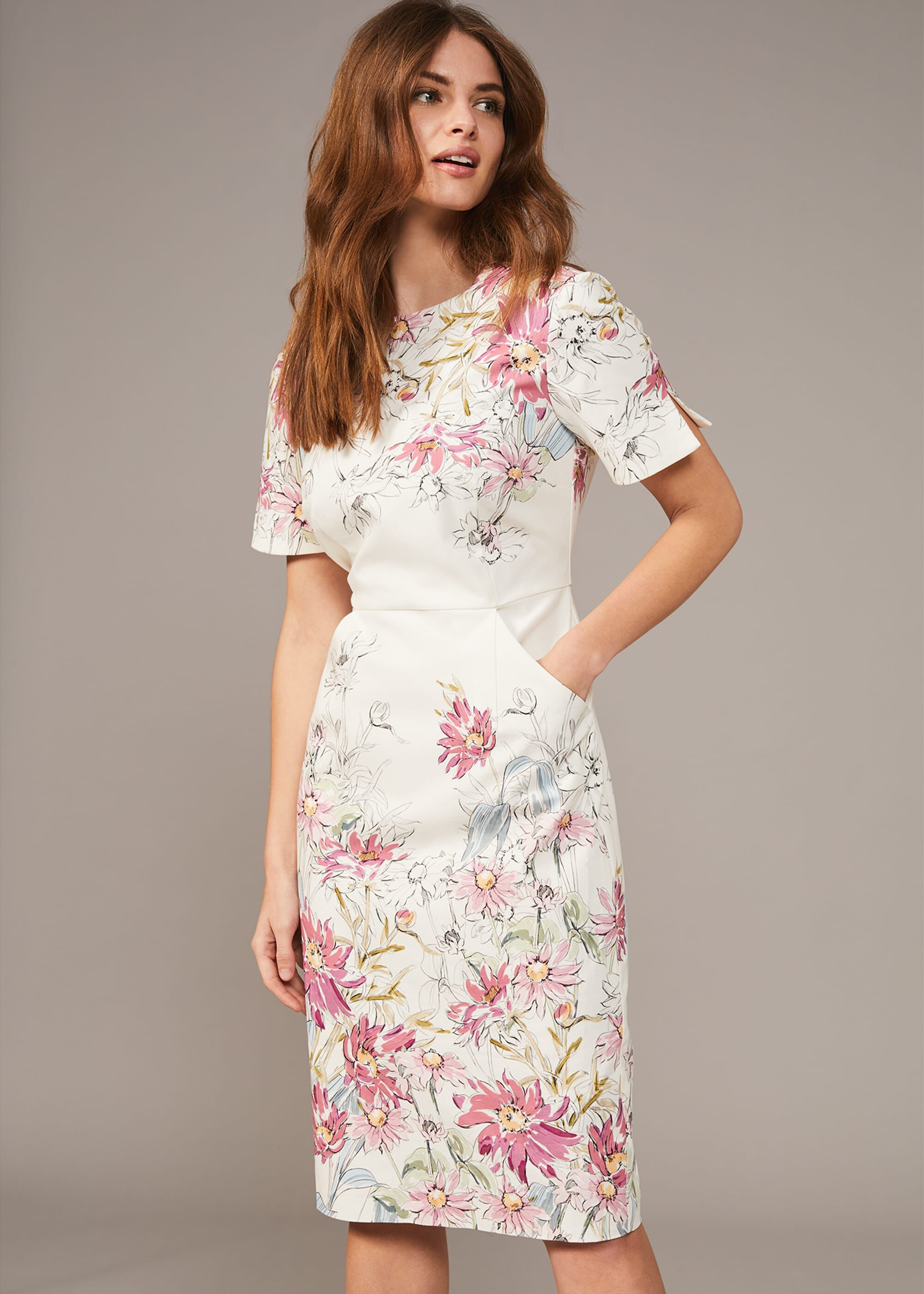 Phase Eight Marie Floral Fitted Dress, Cream, Shift, Occasion Dress