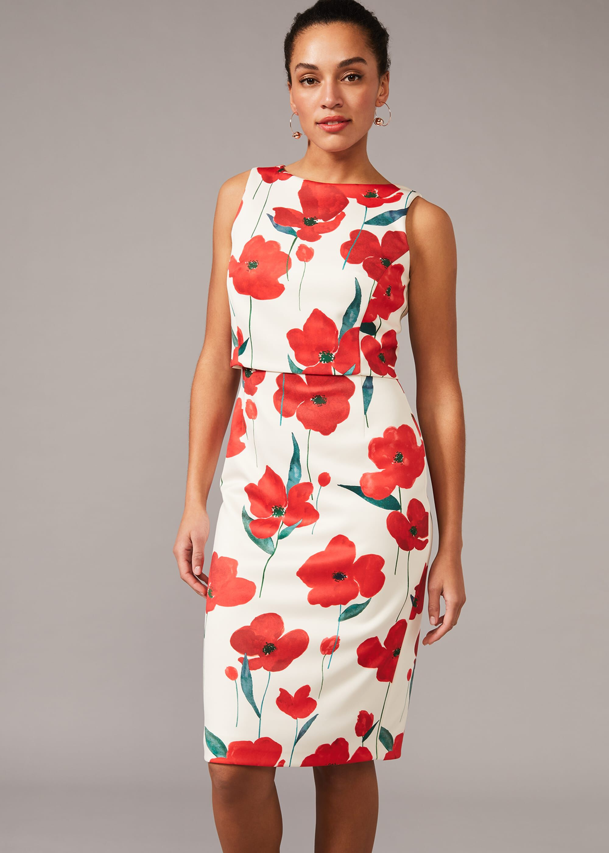 Phase Eight Lou-Poppy Floral Scuba Dress, White, Fitted, Occasion Dress
