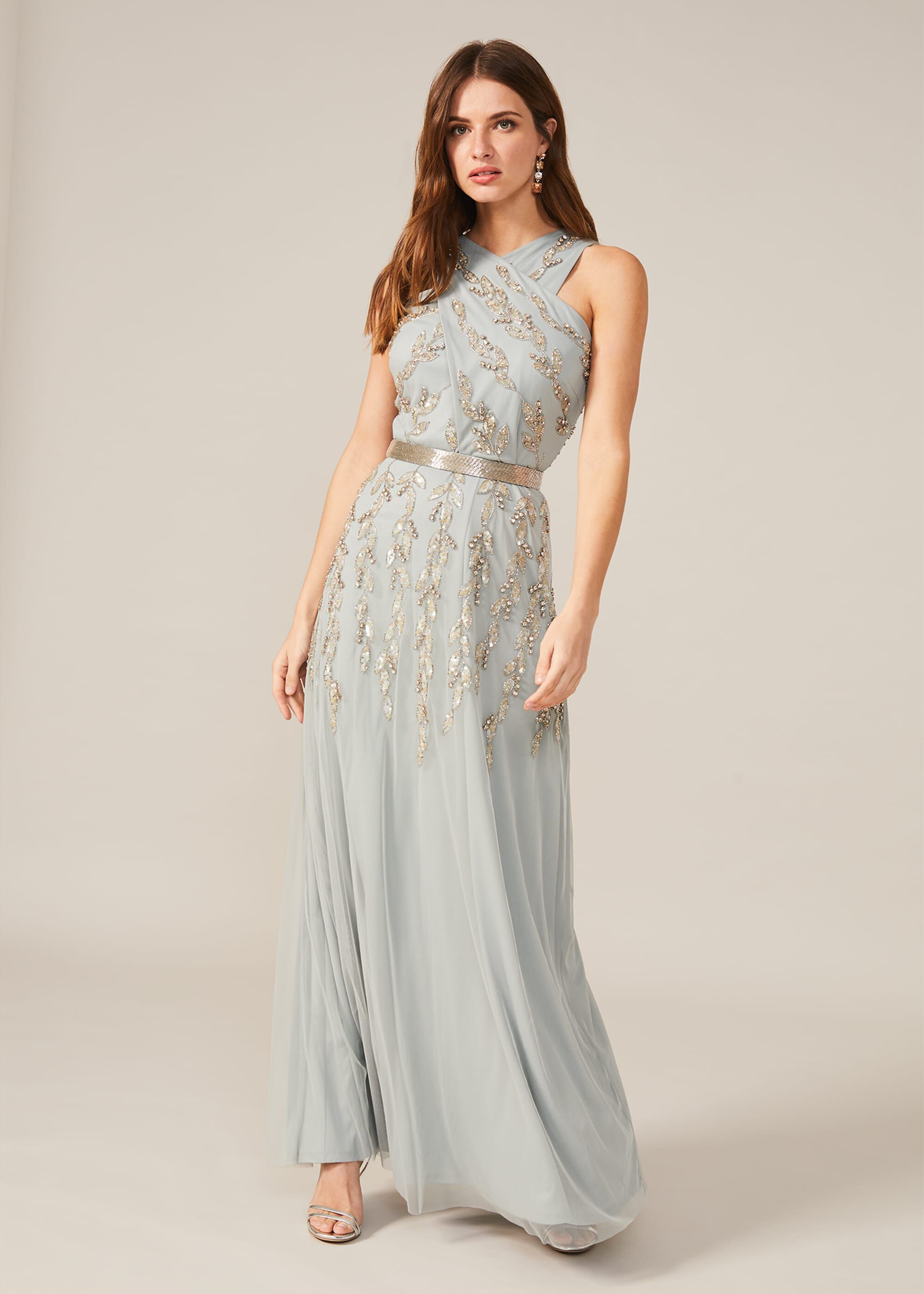 Phase Eight Hallie Embellished Maxi Dress, Blue, Occasion Dress