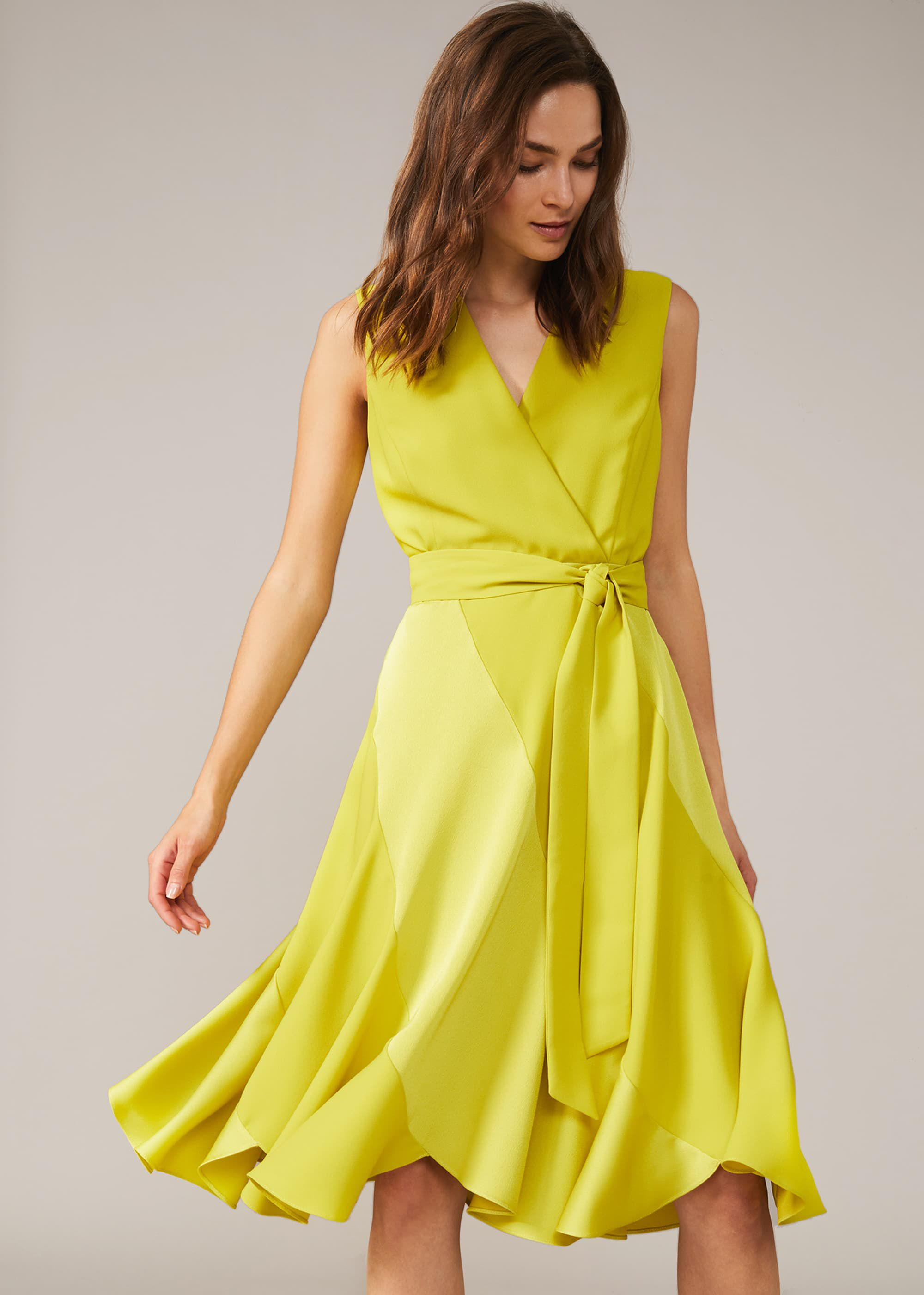 Phase Eight Philis Panelled Dress, Yellow, Occasion Dress