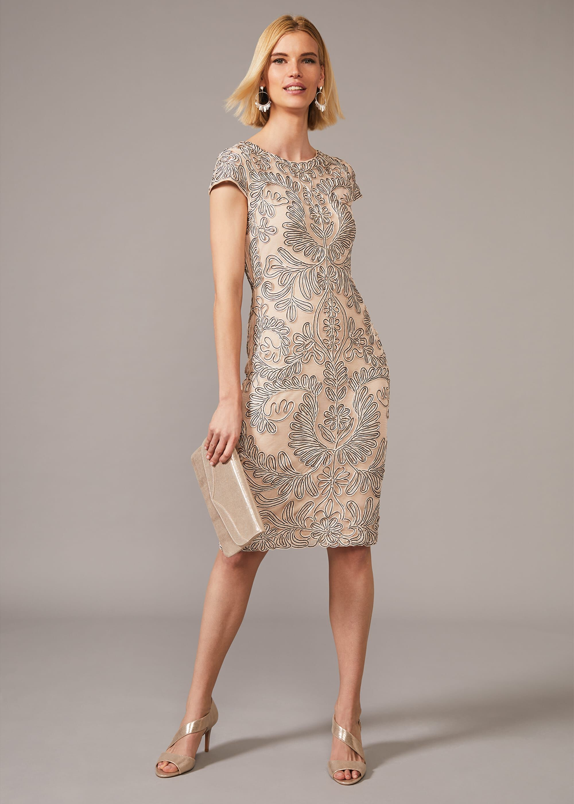 Phase Eight Genevieve Tapework Lace Dress, Cream, Occasion Dress