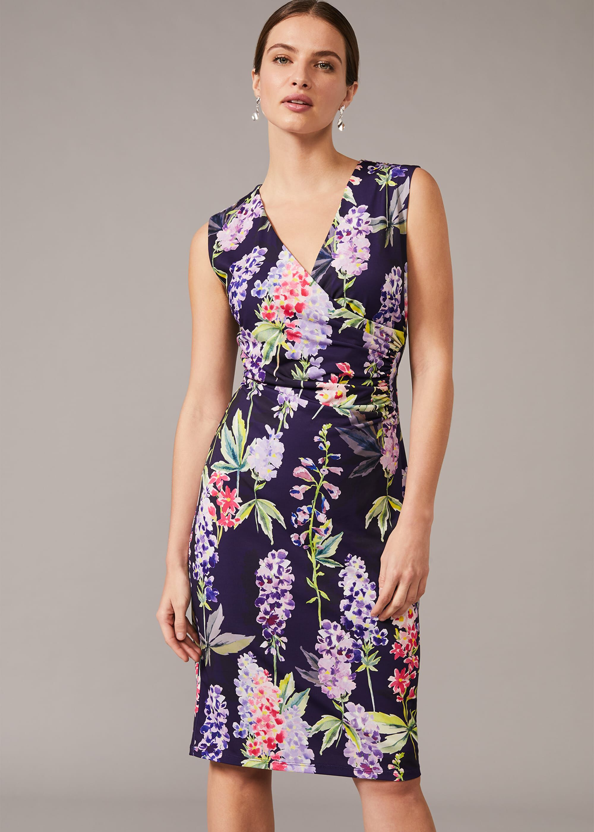 Phase Eight Winifred Floral Fitted Jersey Dress, Blue, Occasion Dress