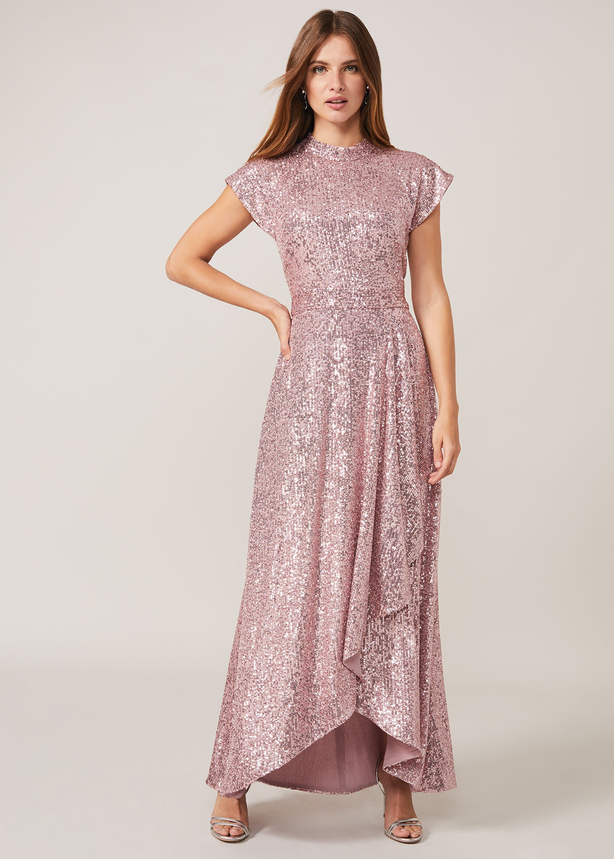 Phase Eight Kendra Sequin Maxi Dress, Pink, Occasion Dress