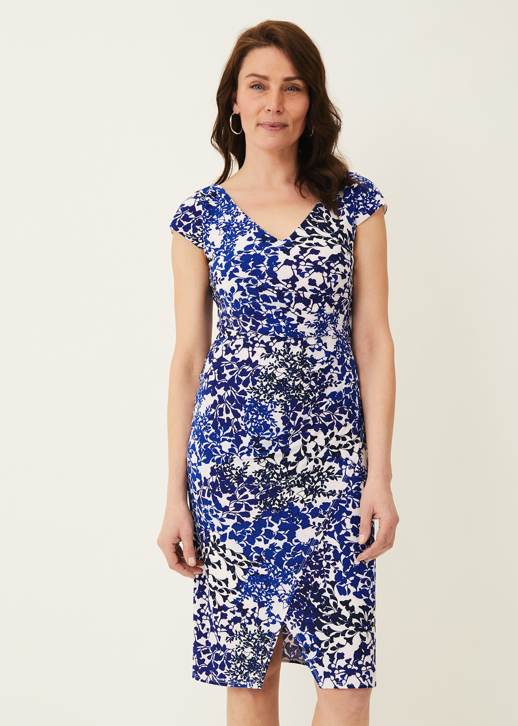Phase Eight Arielle Printed Slinky Jersey Dress, Blue, Occasion Dress