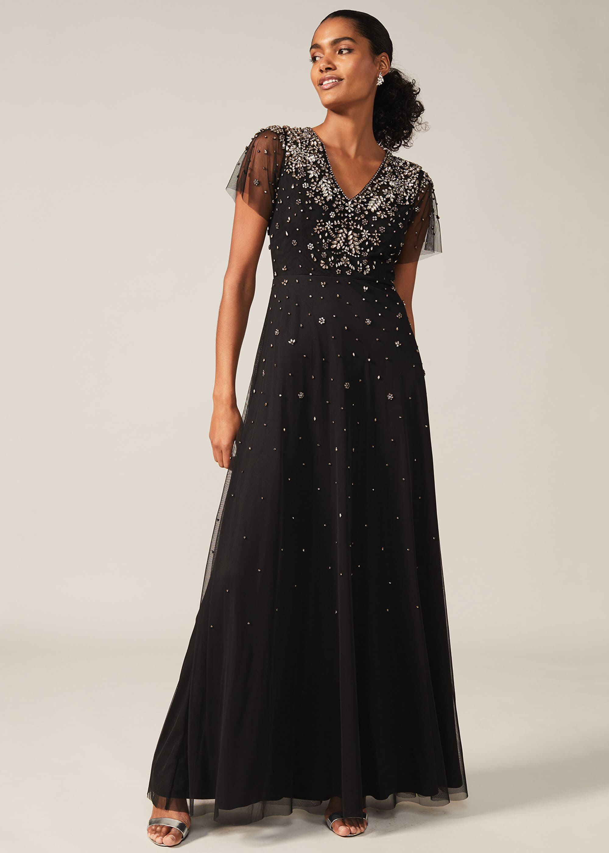 Phase Eight Pascale Jewelled Tulle Dress, Black, Occasion Dress