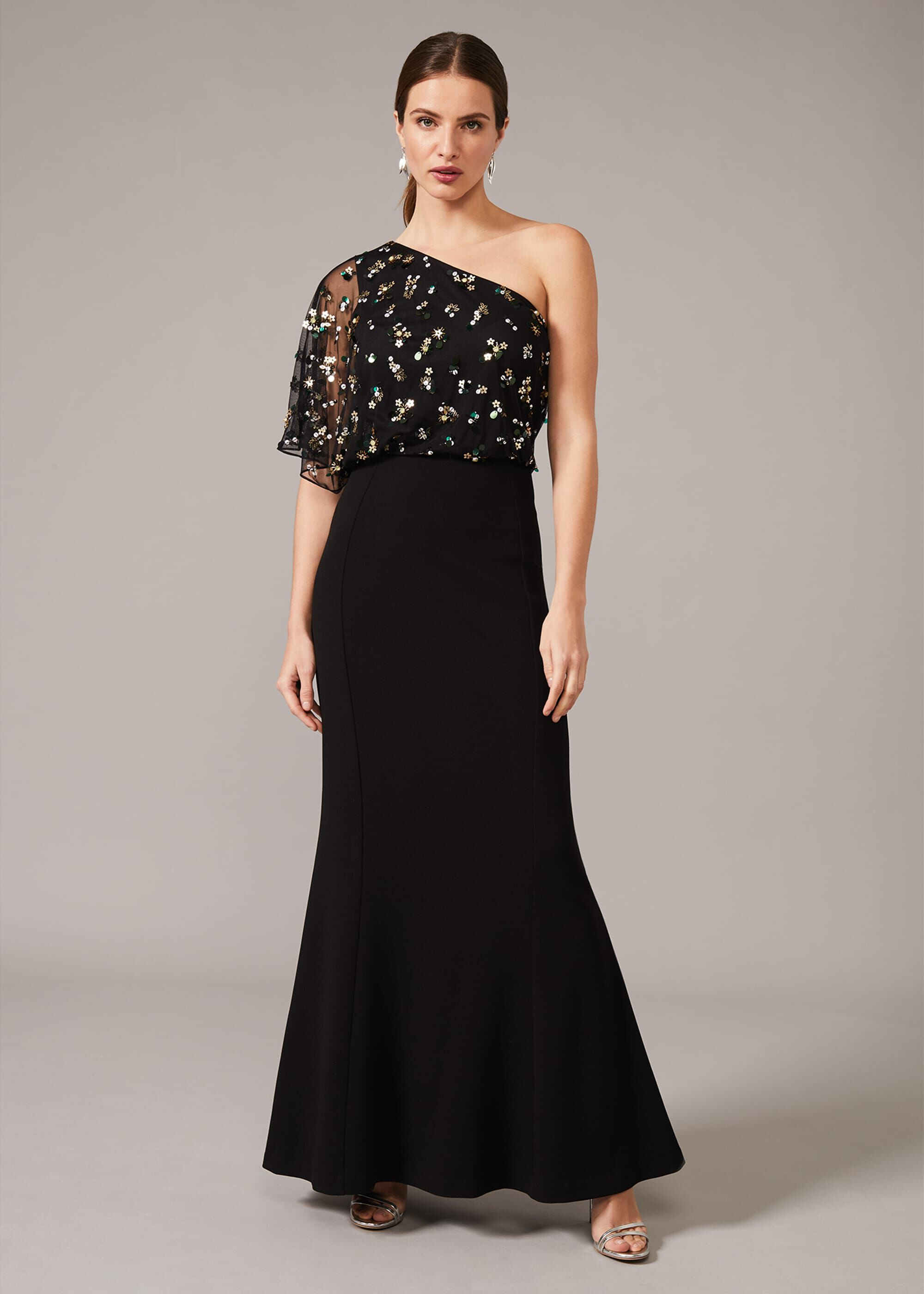 Phase Eight Adele Sequinned One Shoulder Dress, Black, Occasion Dress