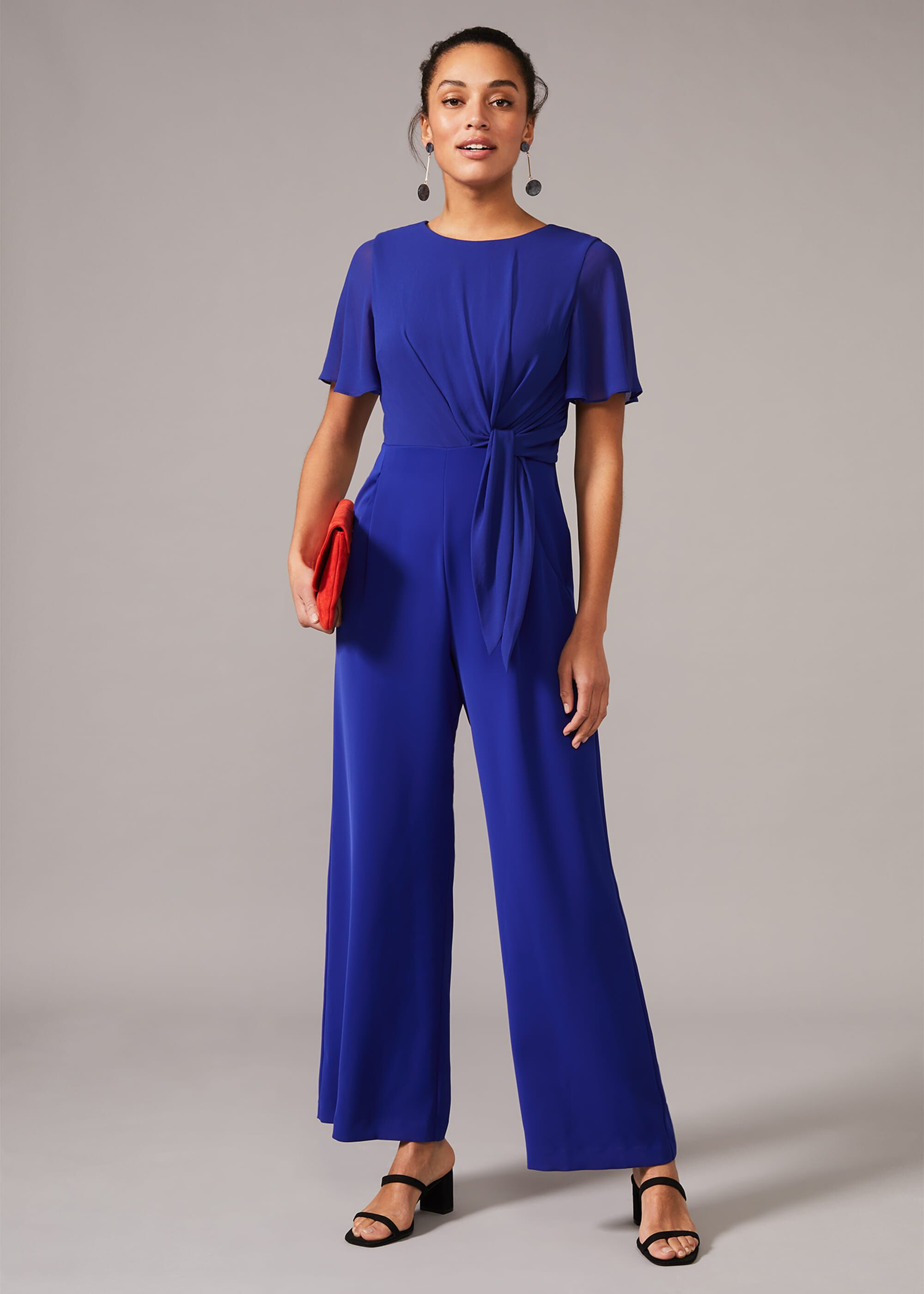 Phase Eight Georgette Knot Bodice Jumpsuit, Blue