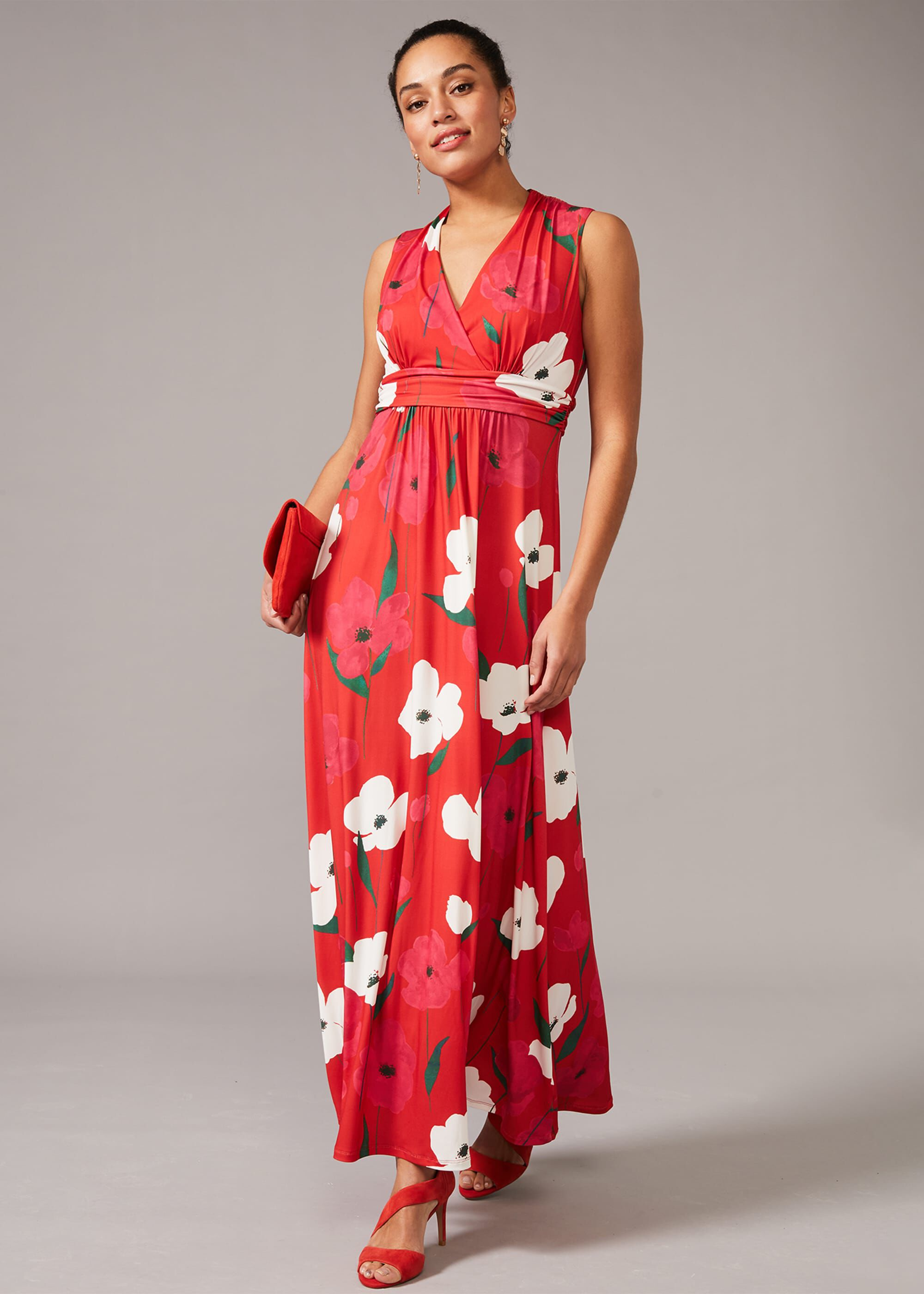 Phase Eight Lou-Poppy Floral Jersey Maxi Dress, Red, Occasion Dress