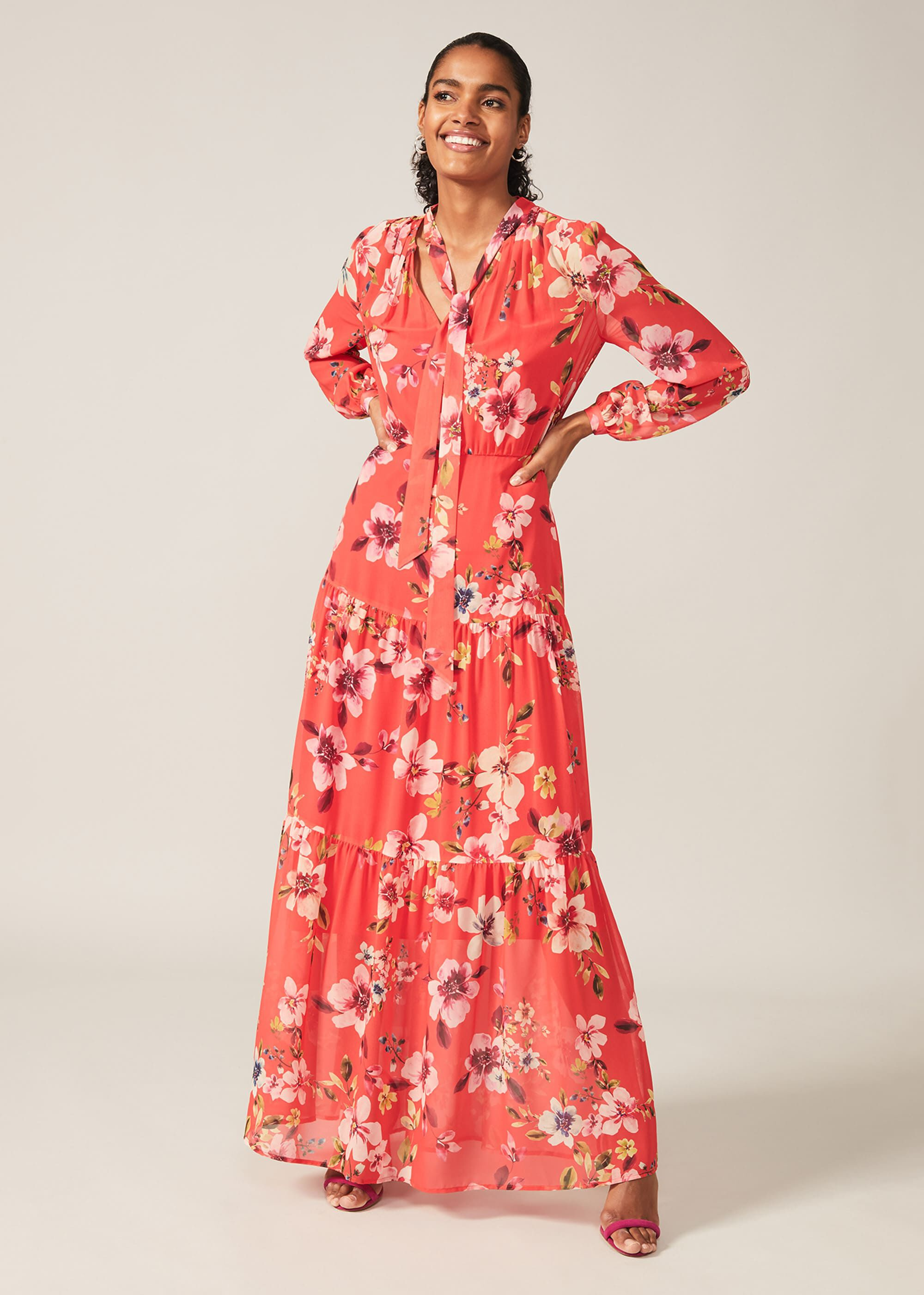 Phase Eight Bernadette Floral Chiffon Maxi Dress, Red