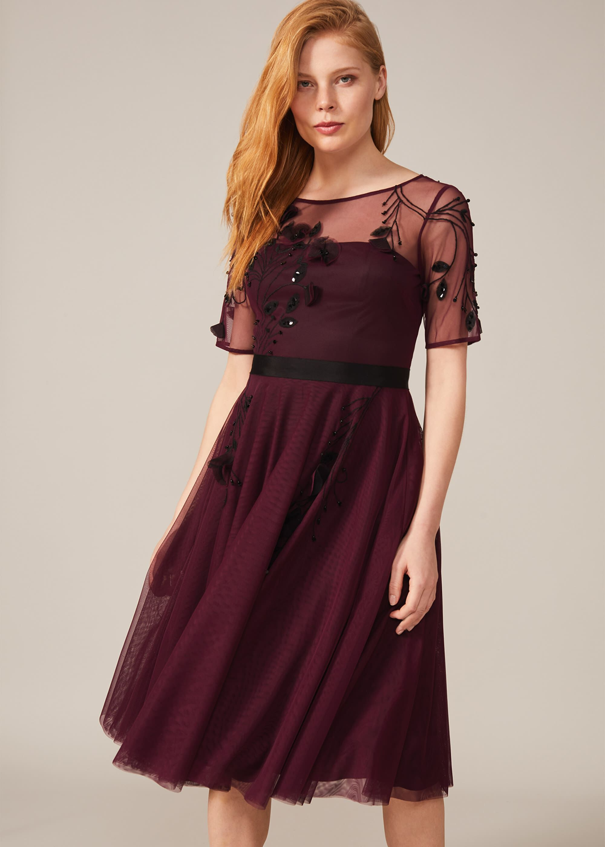 Phase Eight Felicia Embroidered Tulle Dress, Red, Occasion Dress