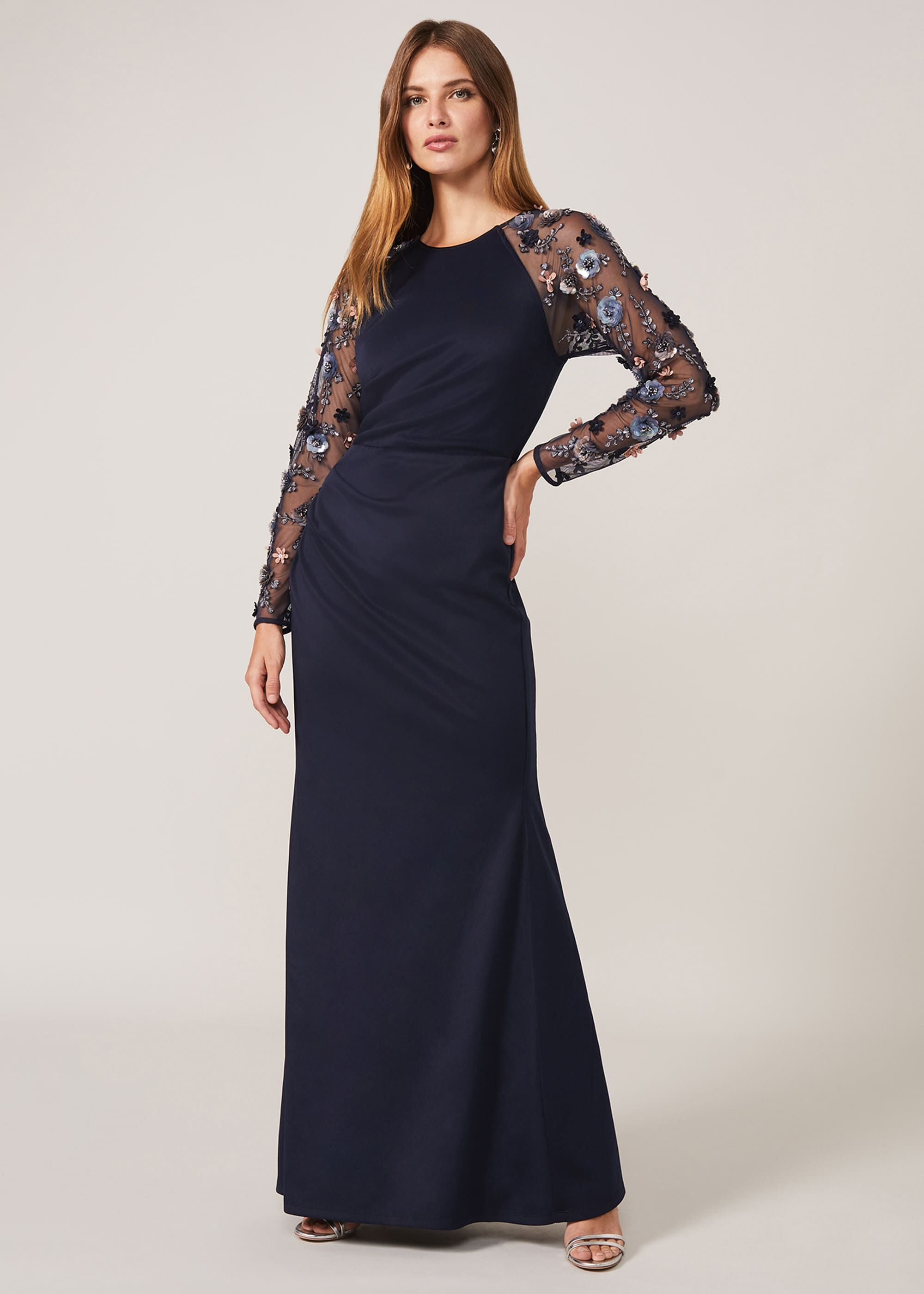 Phase Eight Jody Sequin Sleeve Maxi Dress, Blue, Occasion Dress