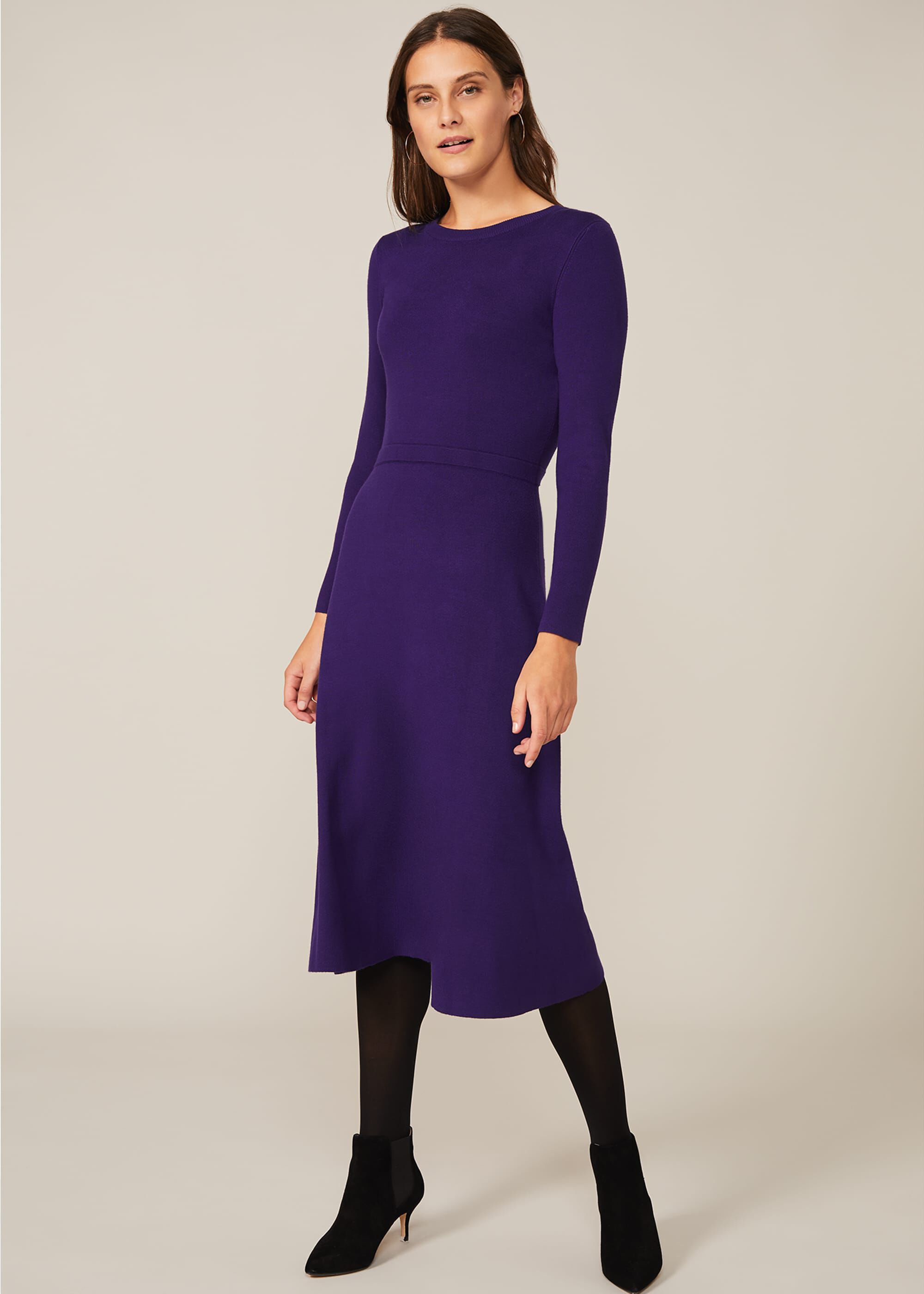 Phase Eight Mel Fit And Flare Midi Dress, Purple