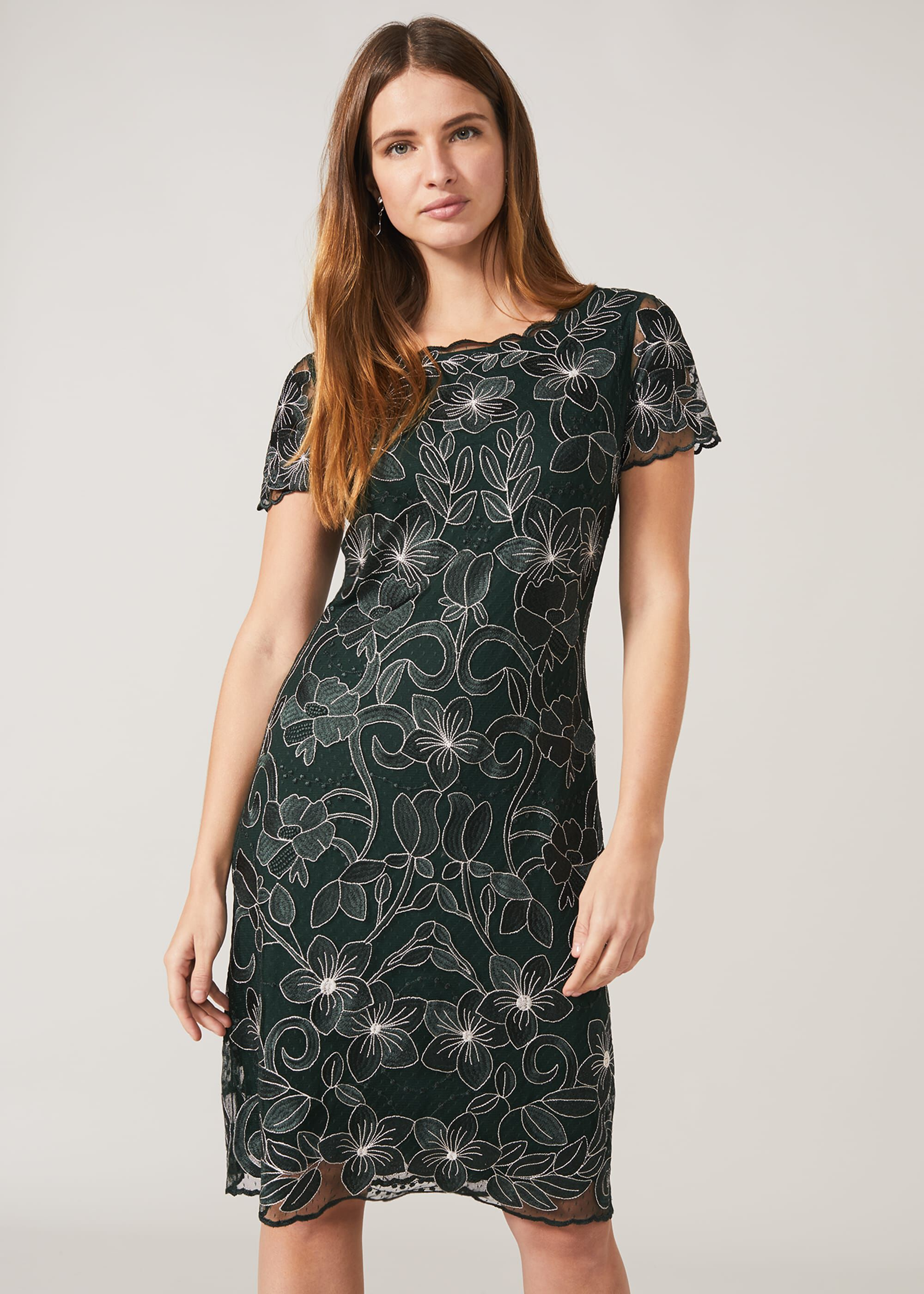 Phase Eight Nessa Embroidered Dress, Green, Occasion Dress
