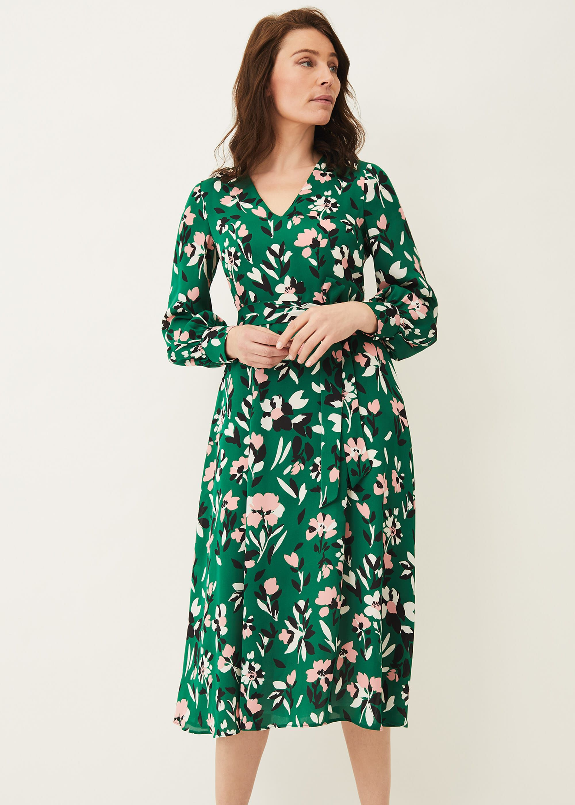 Phase Eight Emmy Floral Dress, Green, Occasion Dress