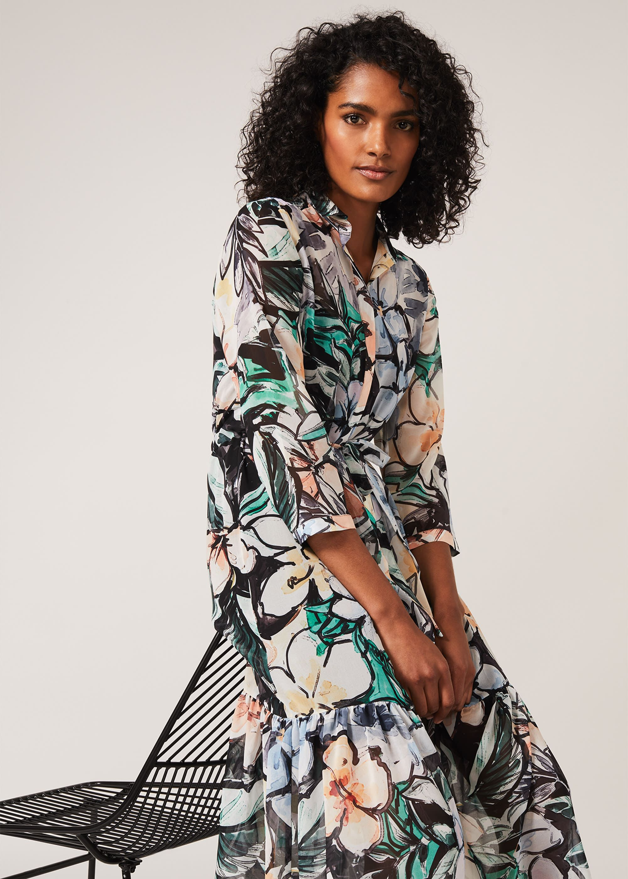 Phase Eight Kerria Floral Shirt Dress, Green