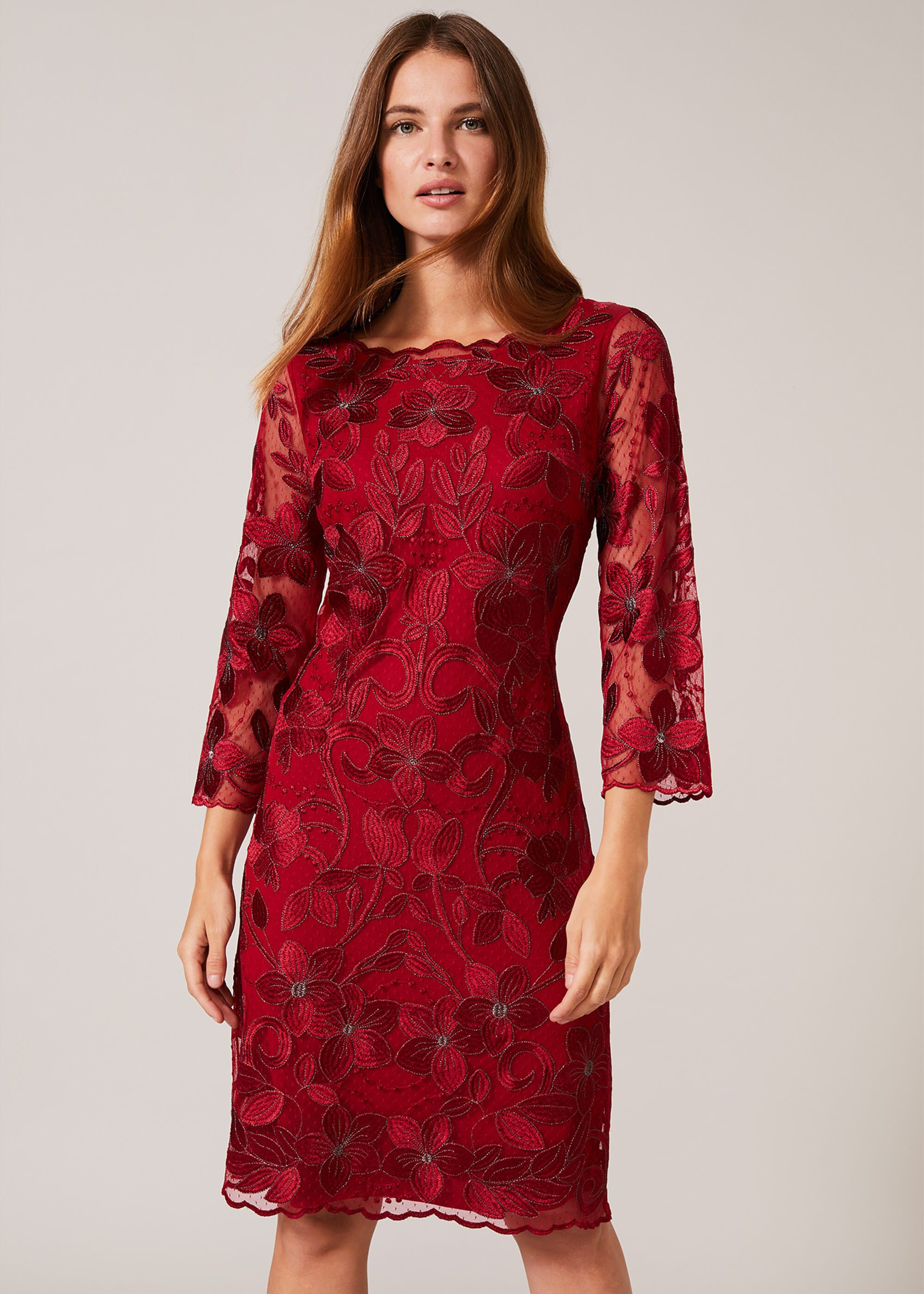 Phase Eight Nessa Embroidered Dress, Red