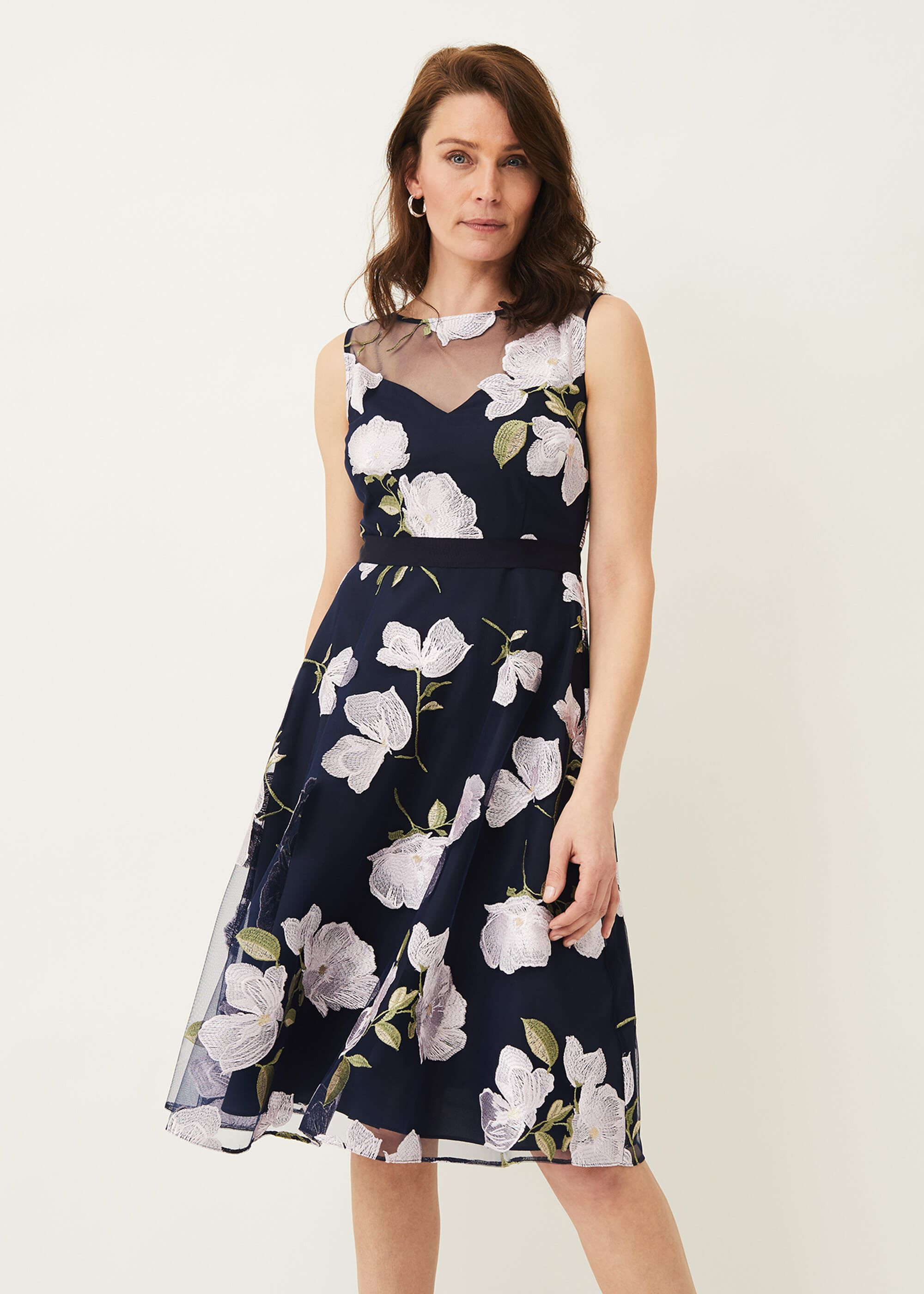 Phase Eight Charlotte Floral Embroidered Dress, Blue, Occasion Dress