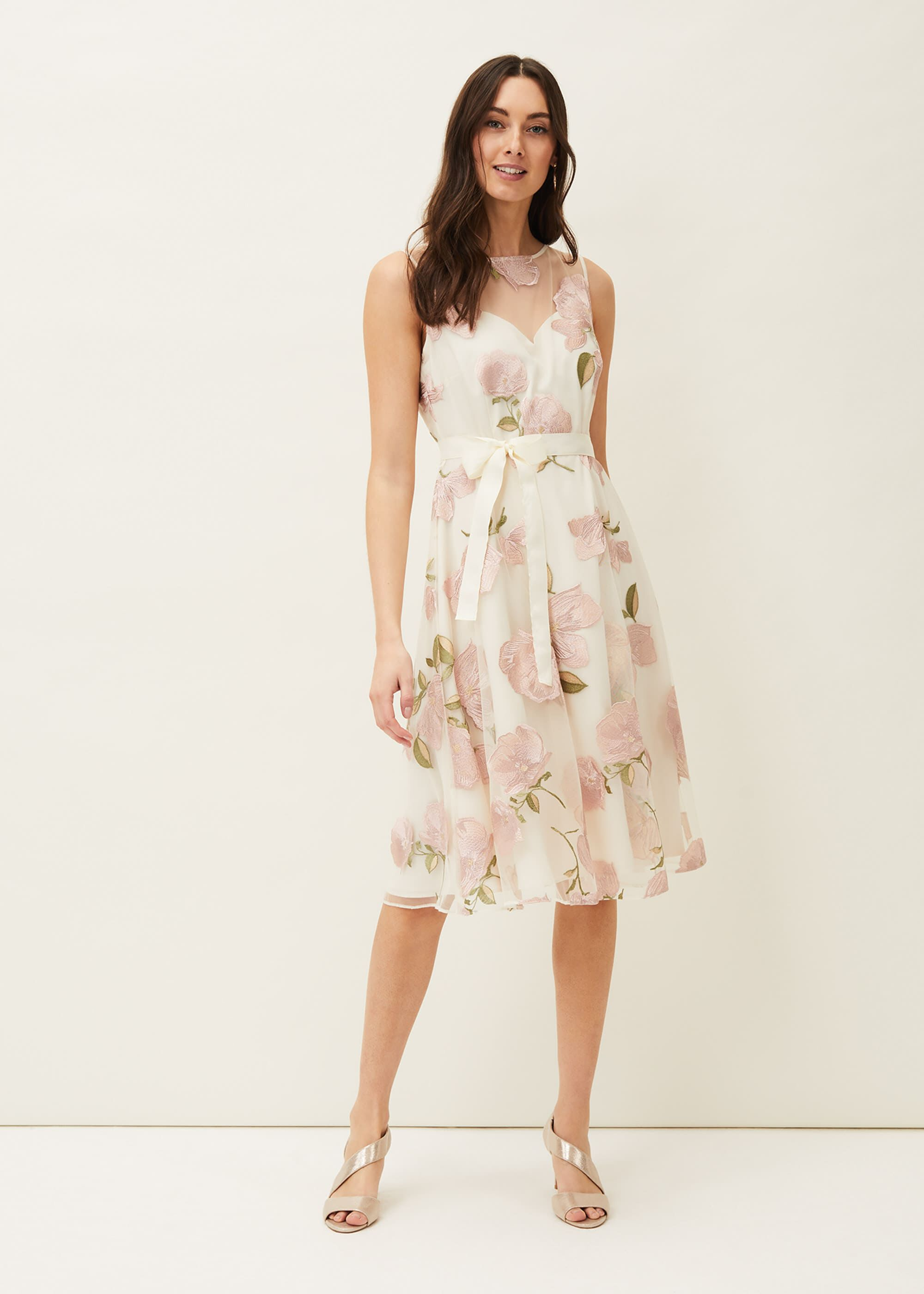 Phase Eight Charlotte Floral Embroidered Dress, Pink, Occasion Dress