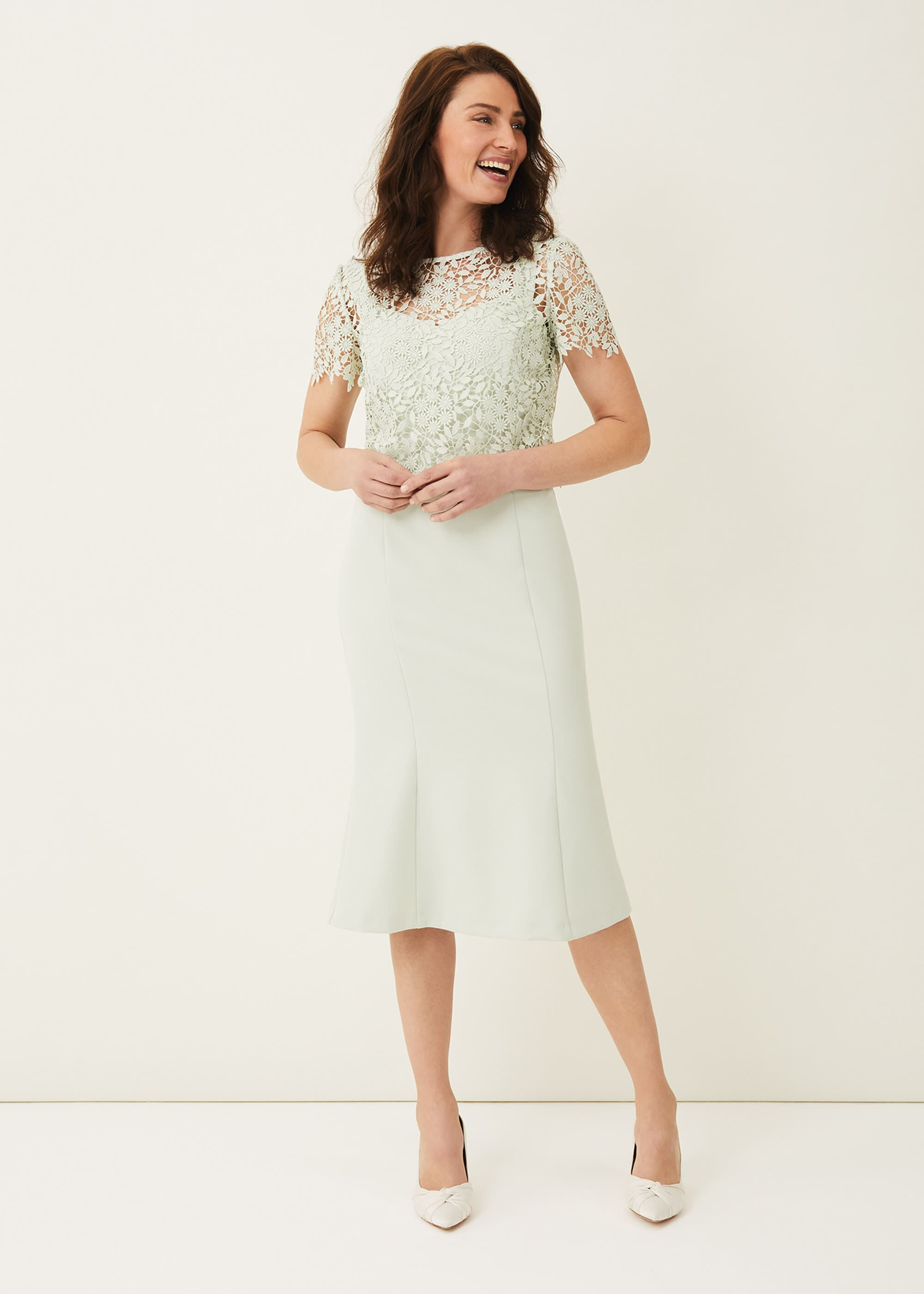 Phase Eight Georgia Layered Lace Dress, Green, Occasion Dress