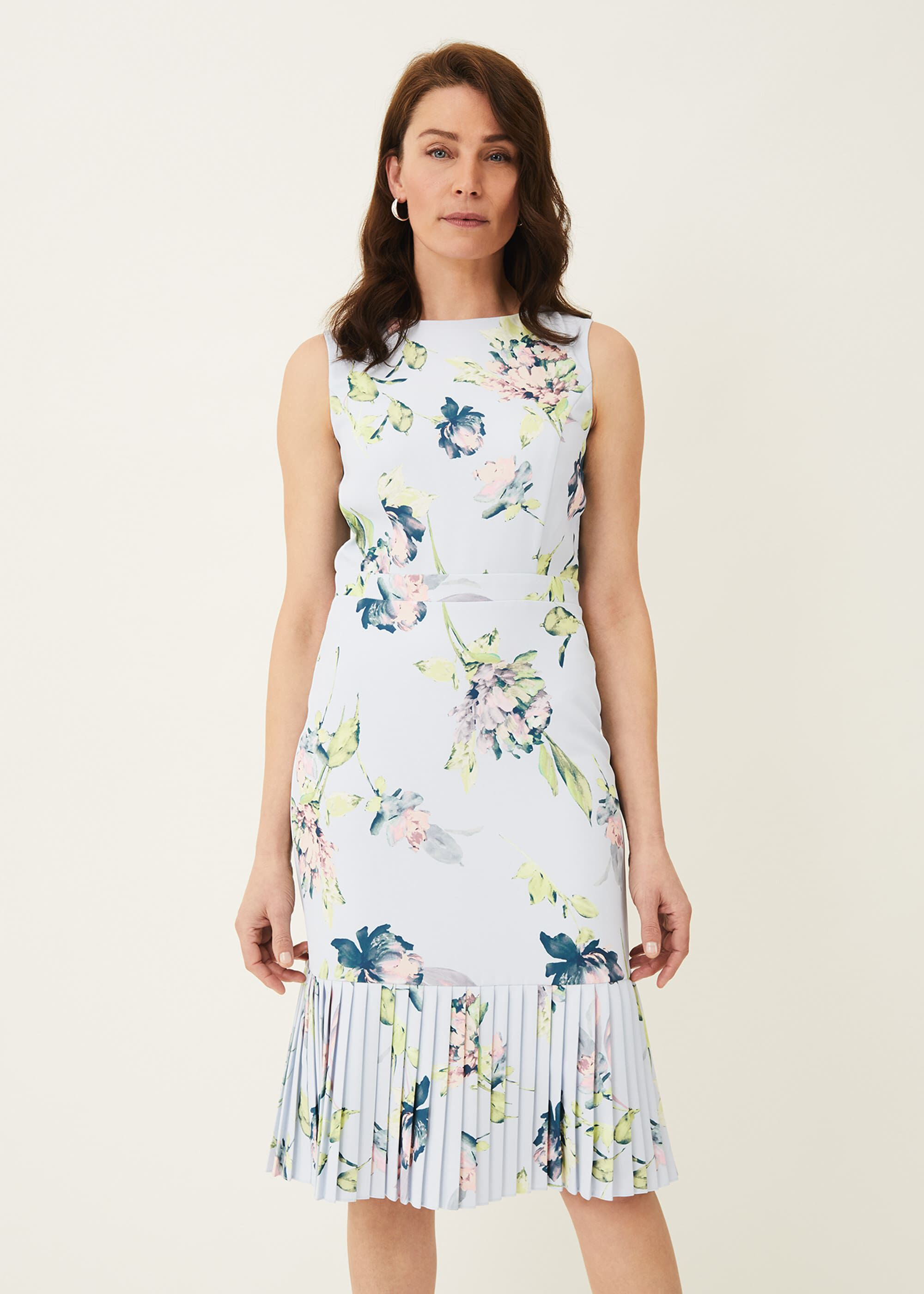 Phase Eight Farah Floral Dress, Blue, Occasion Dress