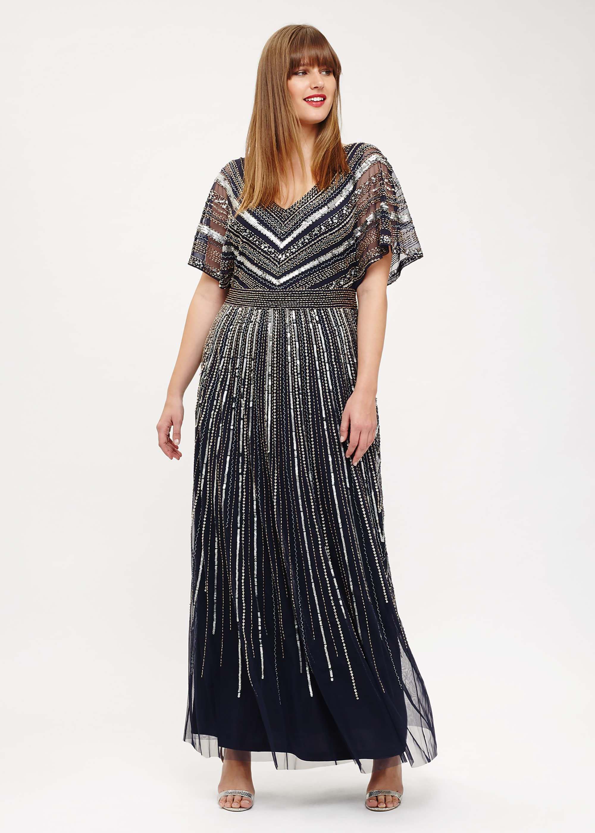 Studio 8 Avalon Beaded Maxi Dress, Blue, Maxi, Occasion Dress