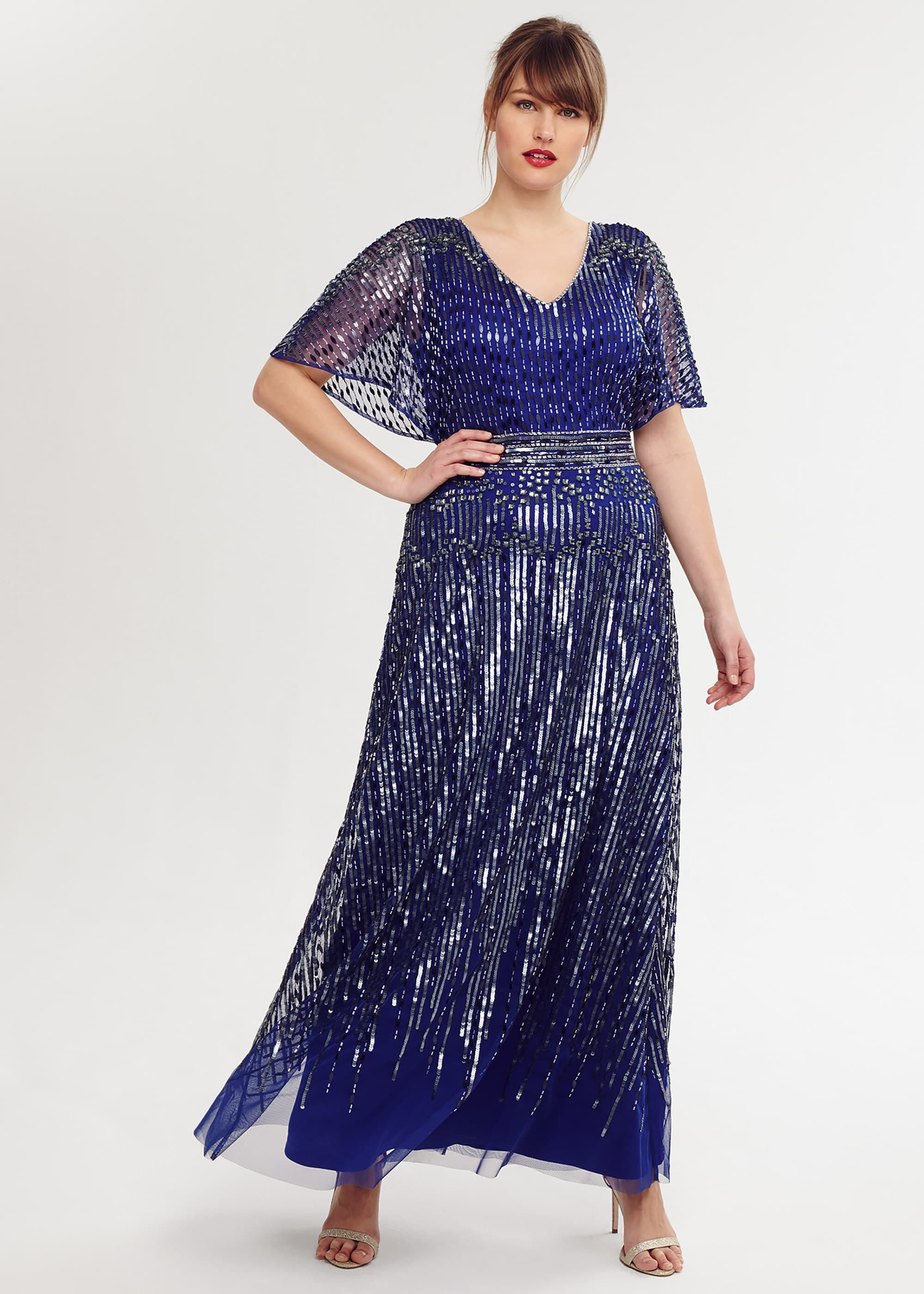 Studio 8 Athena Beaded Maxi Dress, Blue, Maxi, Occasion Dress