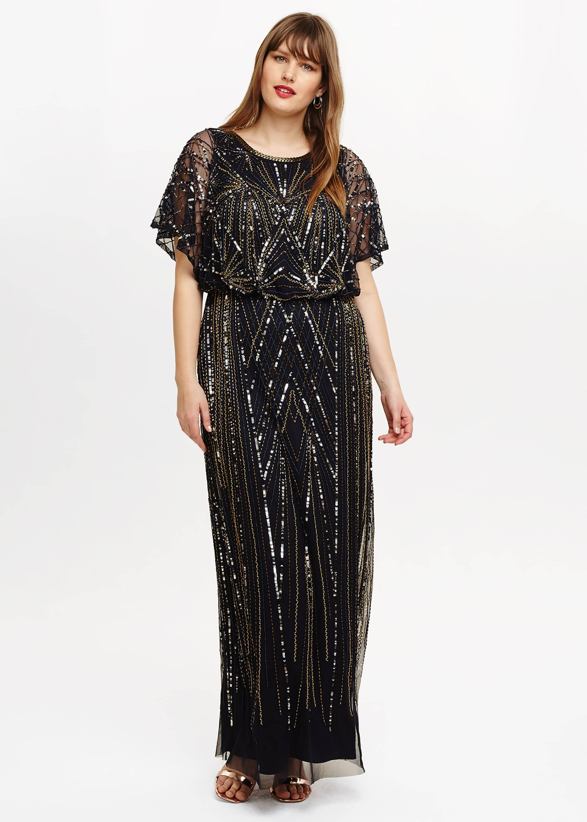 1920s Plus Size Flapper Dresses, Gatsby Dresses, Flapper Costumes Studio 8 Hermione Beaded Maxi Dress Blue Maxi Occasion Dress £295.00 AT vintagedancer.com