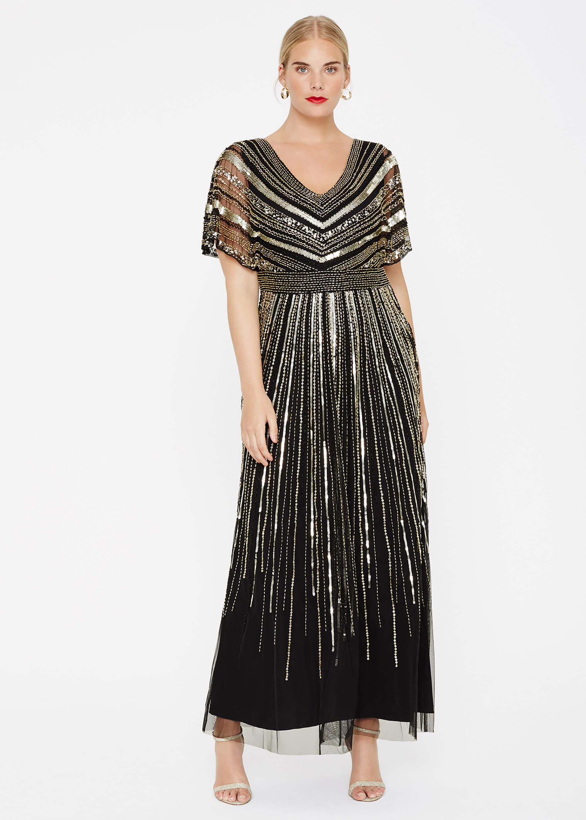Studio 8 Avalon Beaded Maxi Dress, Black, Maxi, Occasion Dress
