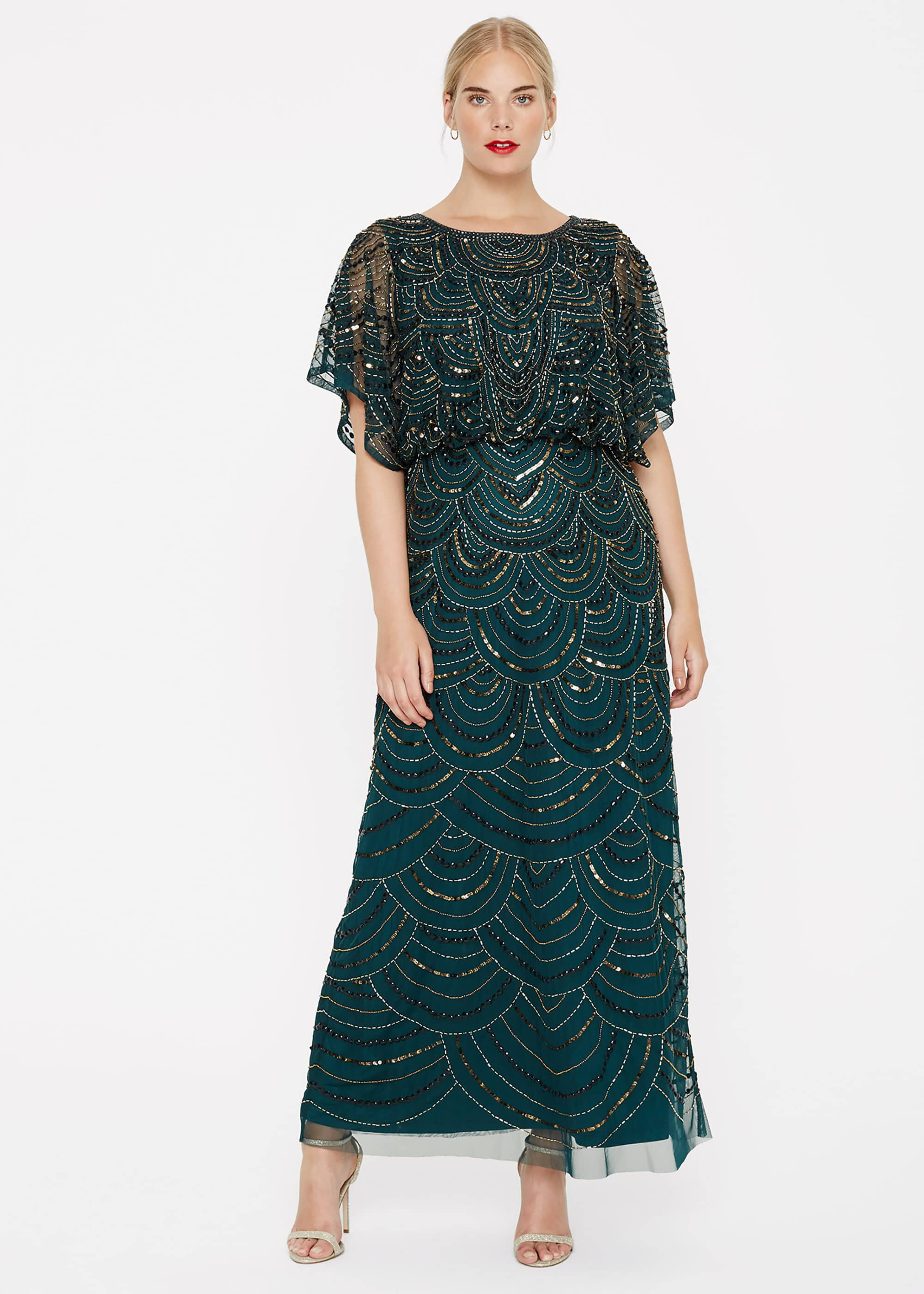 Studio 8 Jupiter Beaded Maxi Dress, Green, Maxi, Occasion Dress