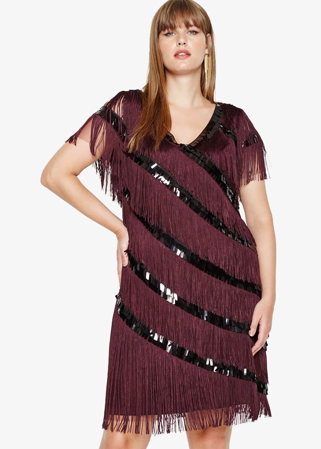 Studio 8 Lottie Fringe Dress, Purple, Shift