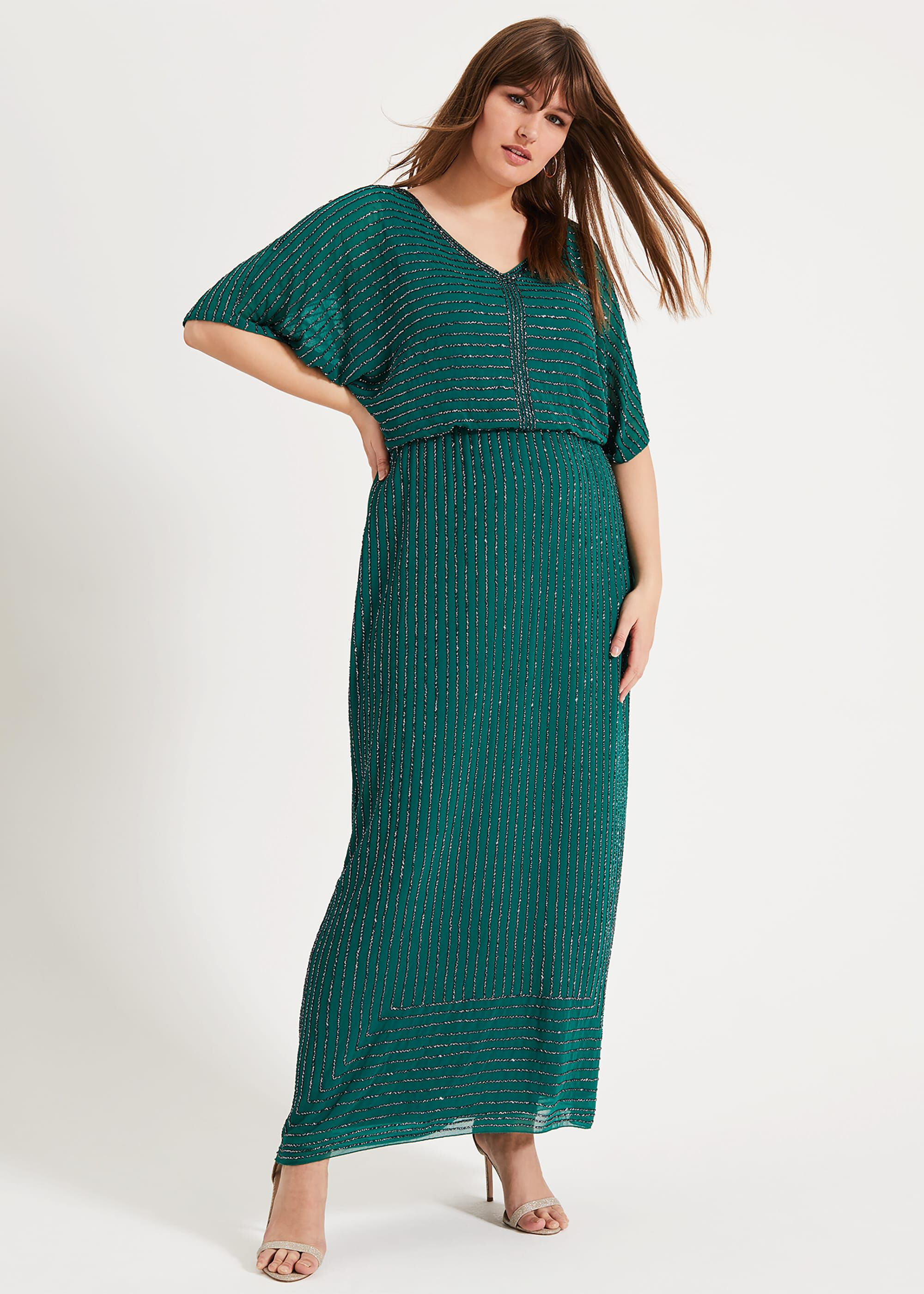 Studio 8 Hera Beaded Maxi Dress, Green, Maxi