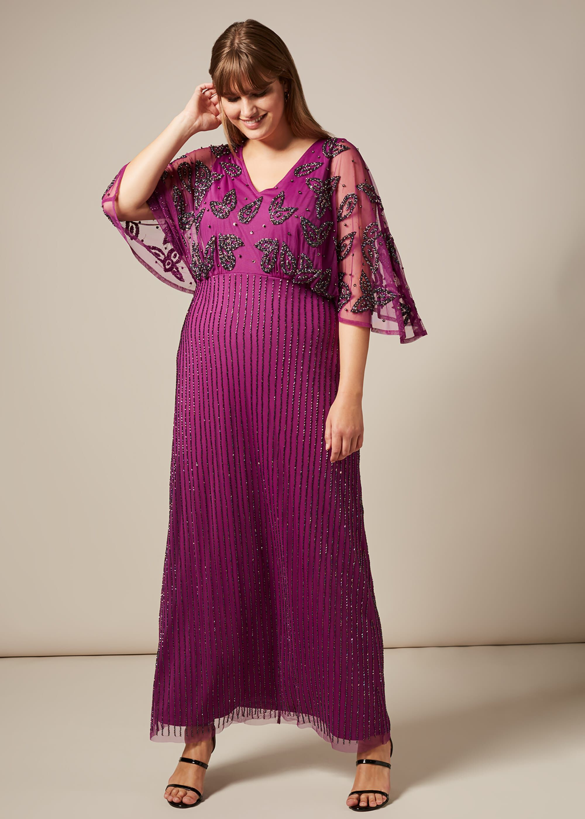 Studio 8 Selene Beaded Maxi Dress, Purple, Maxi, Occasion Dress