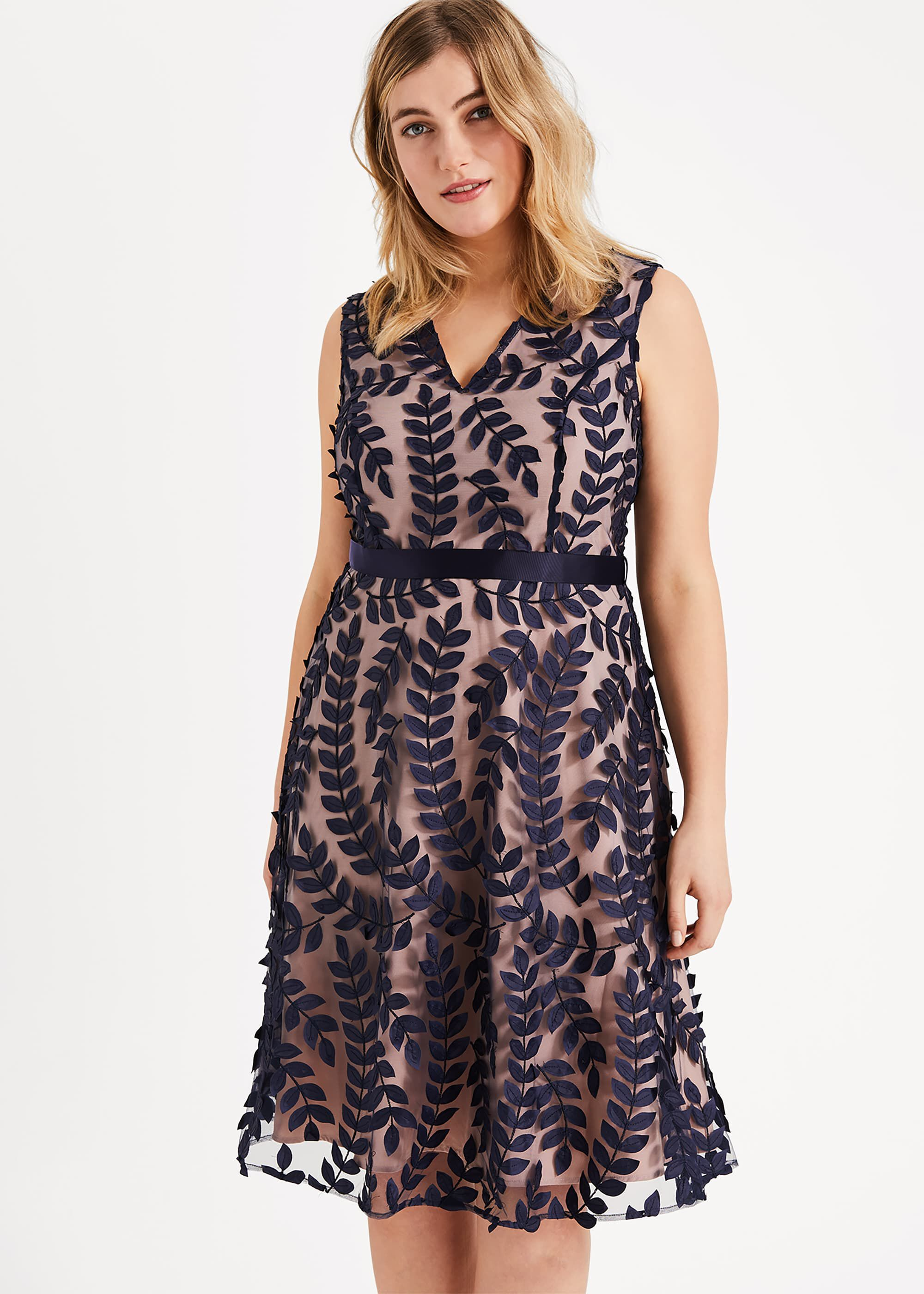 Studio 8 Evie Leaf Dress, Blue, Cocktail