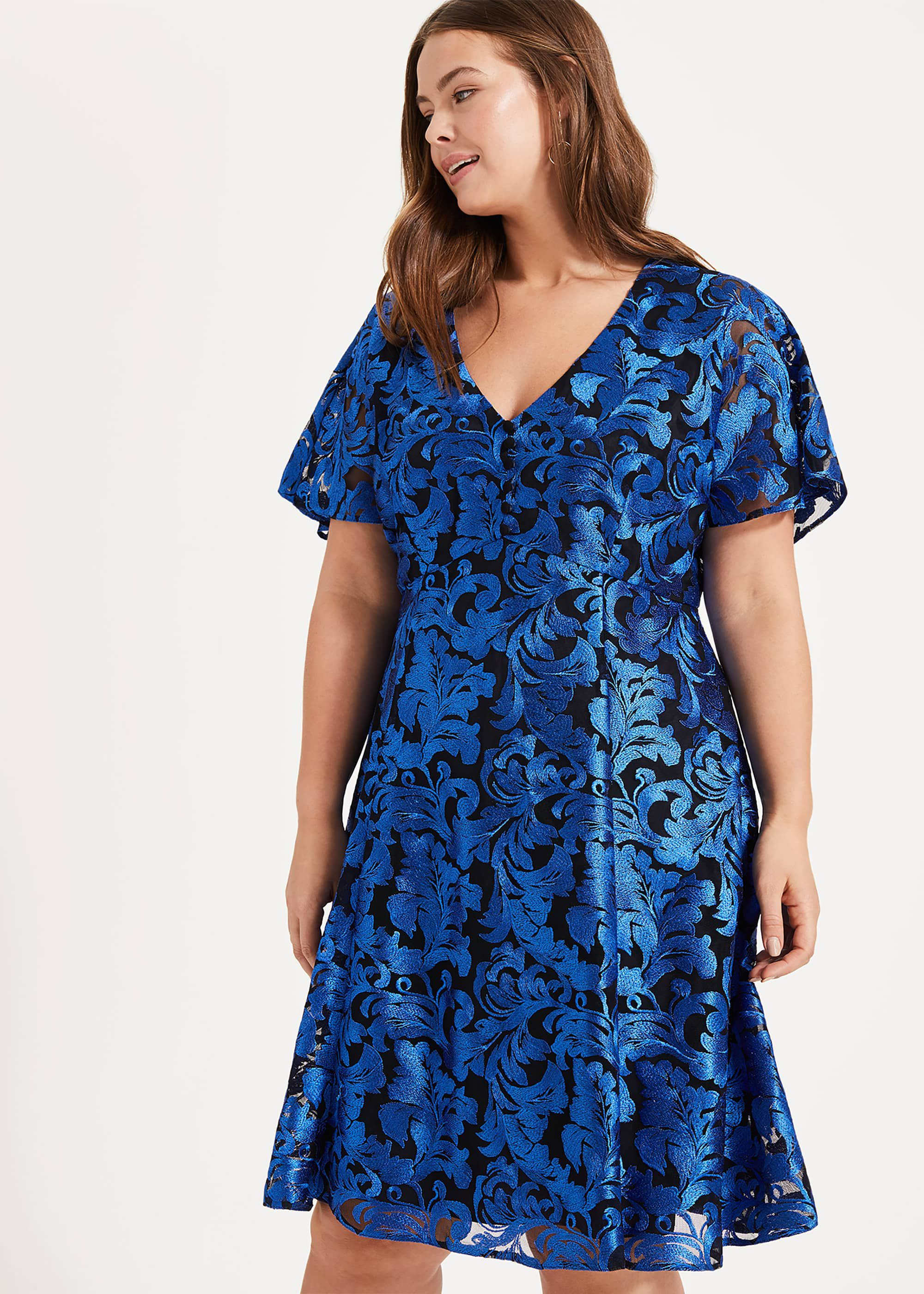 Studio 8 Althea Embroidered Dress, Blue, Cocktail, Occasion Dress