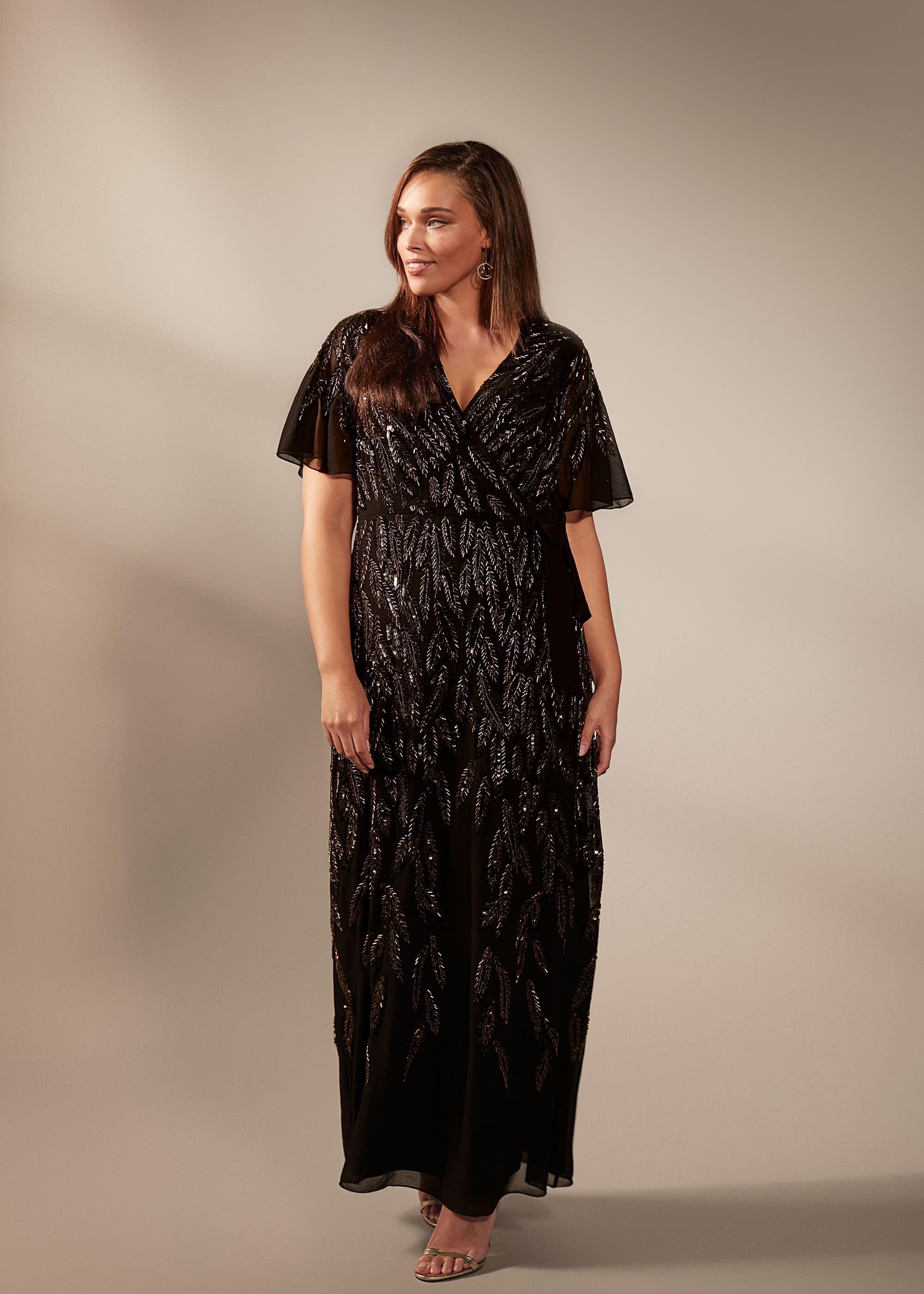 Studio 8 Hermosa Beaded Maxi Dress, Black, Maxi, Occasion Dress