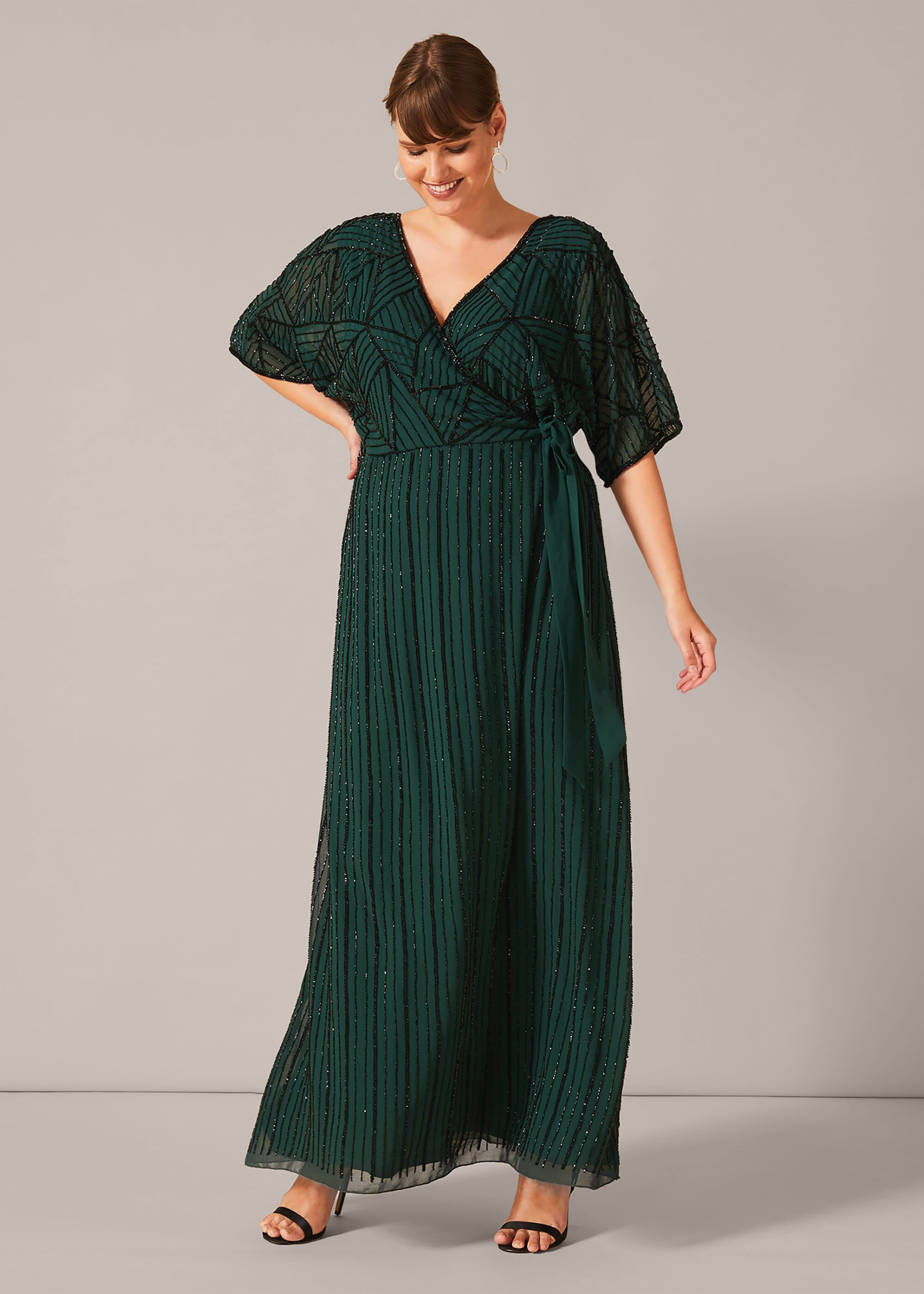 Studio 8 Electra Beaded Maxi Dress, Green, Maxi, Occasion Dress