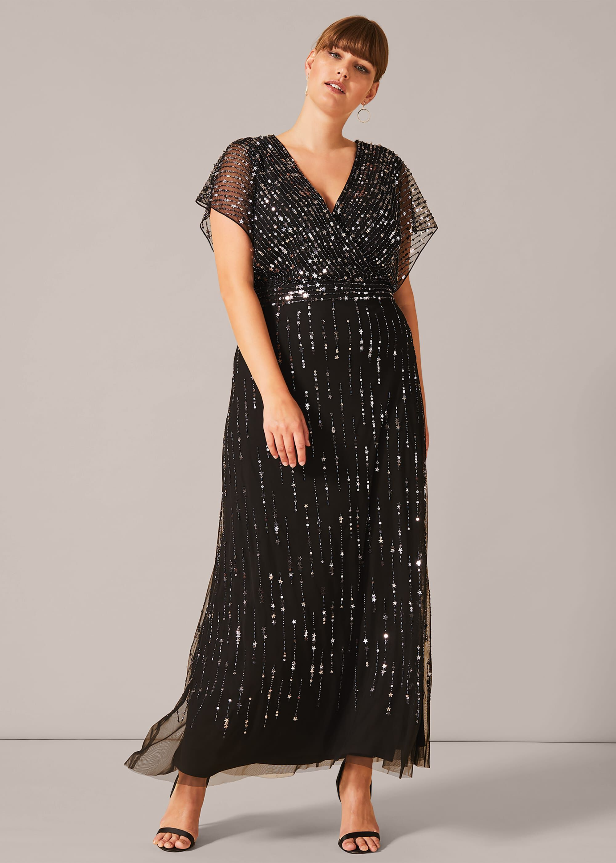 60s 70s Plus Size Dresses, Clothing, Costumes Studio 8 Shante Sequin Maxi Dress Black Maxi Occasion Dress £225.00 AT vintagedancer.com