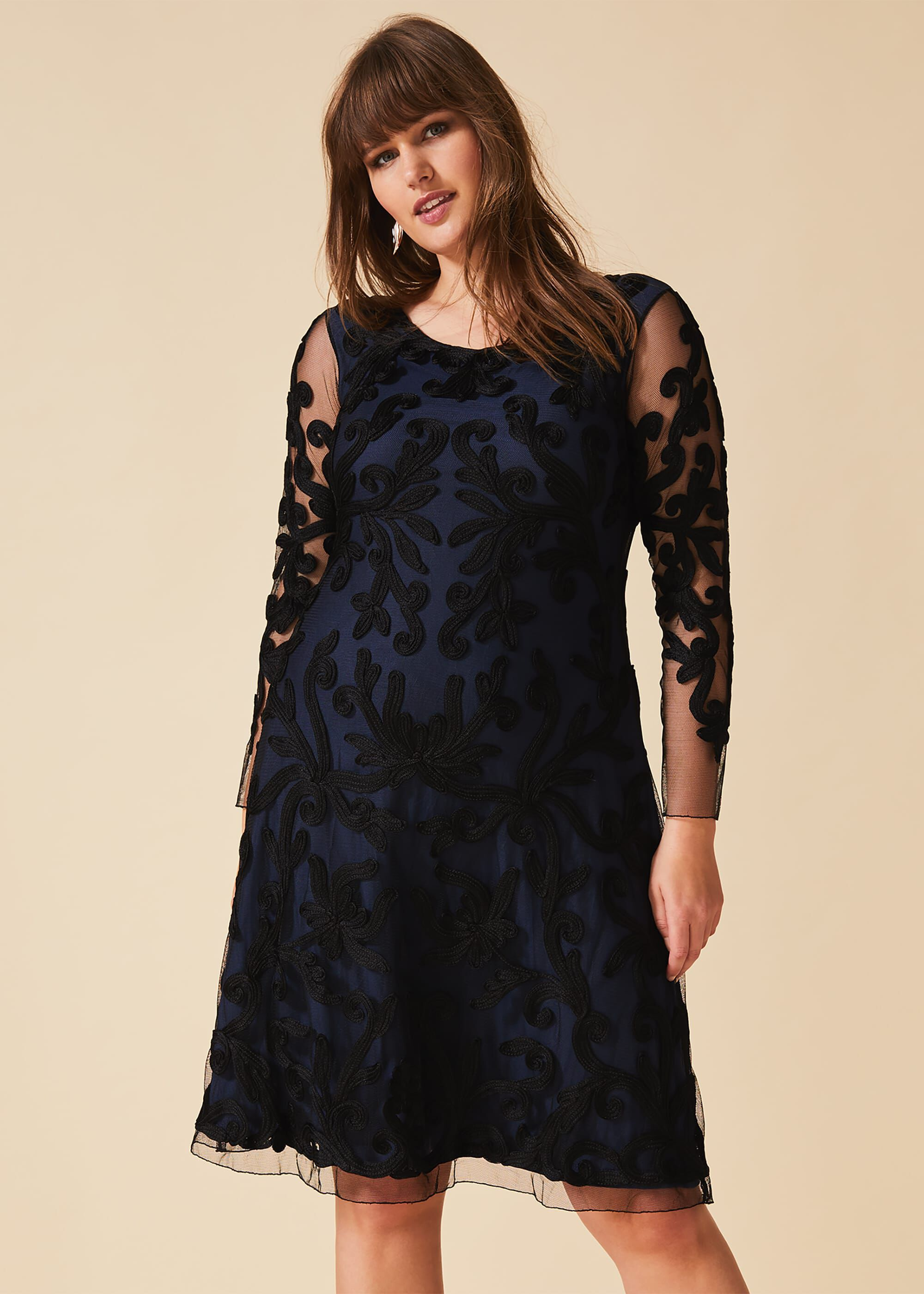 Studio 8 Aimee Tapework Lace Dress, Blue, Cocktail, Occasion Dress