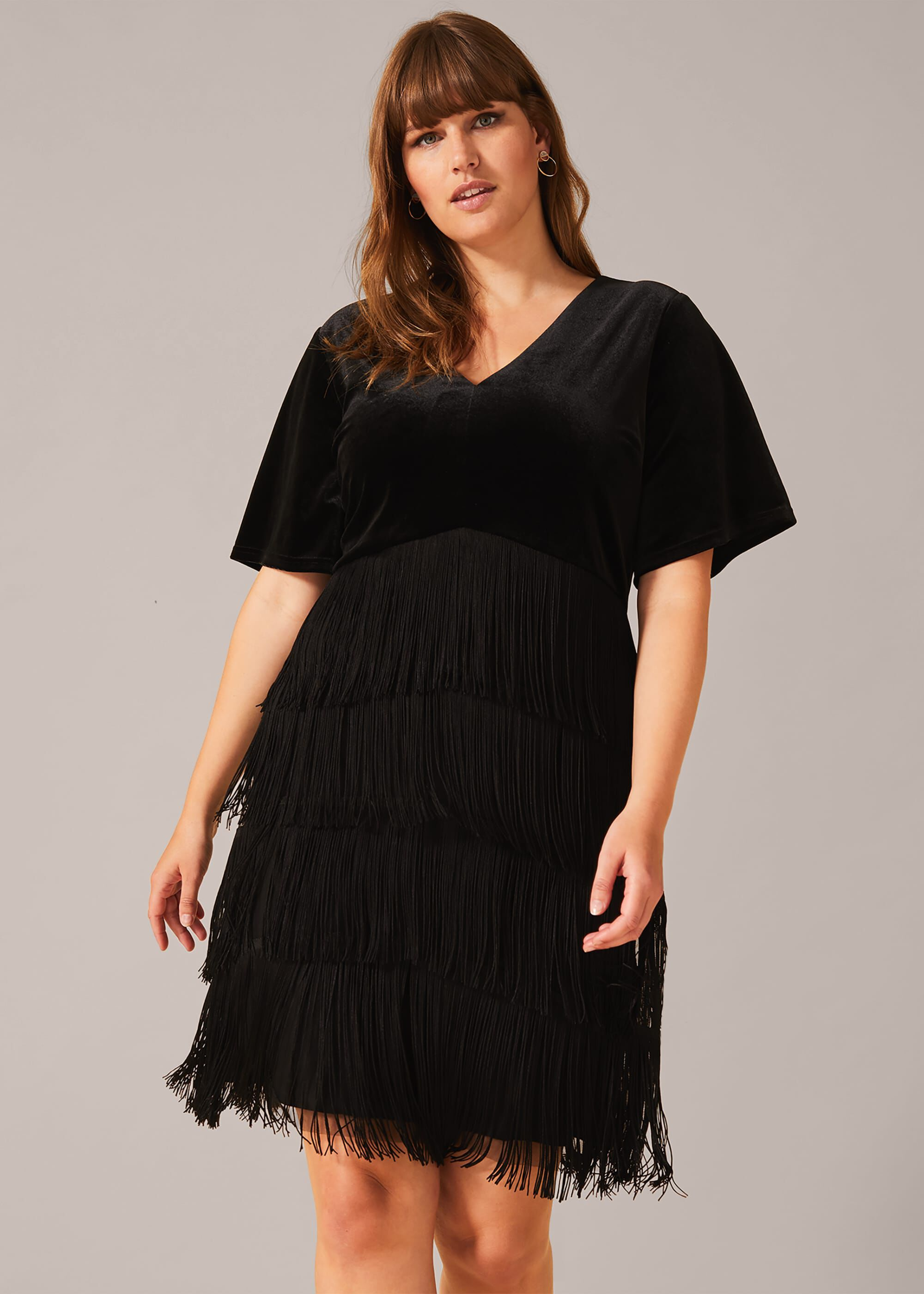 1920s Dresses UK | Flapper, Gatsby, Downton Abbey Dress Studio 8 Felicity Fringe Dress Black Cocktail Occasion Dress £105.00 AT vintagedancer.com