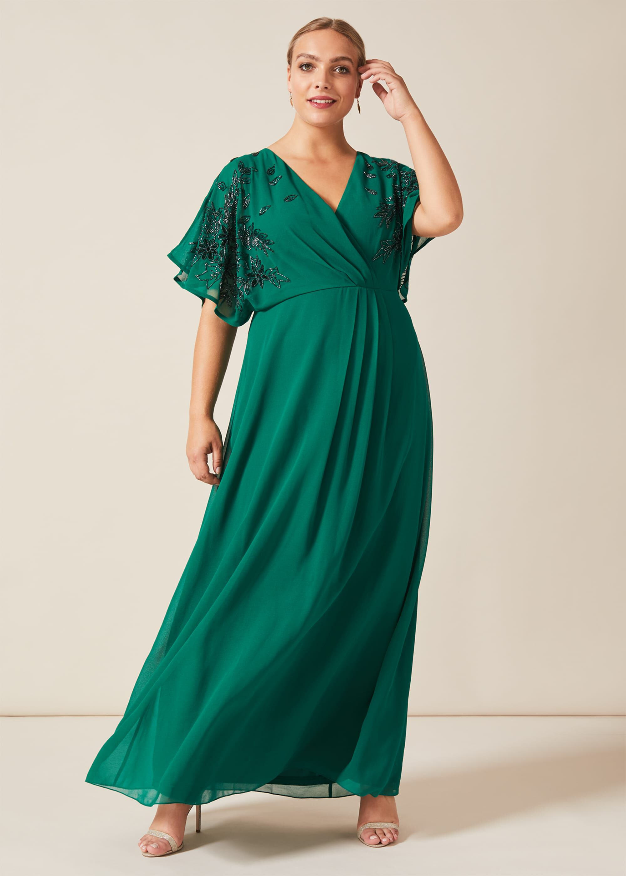 Studio 8 Tabitha Beaded Maxi Dress, Green, Maxi, Occasion Dress