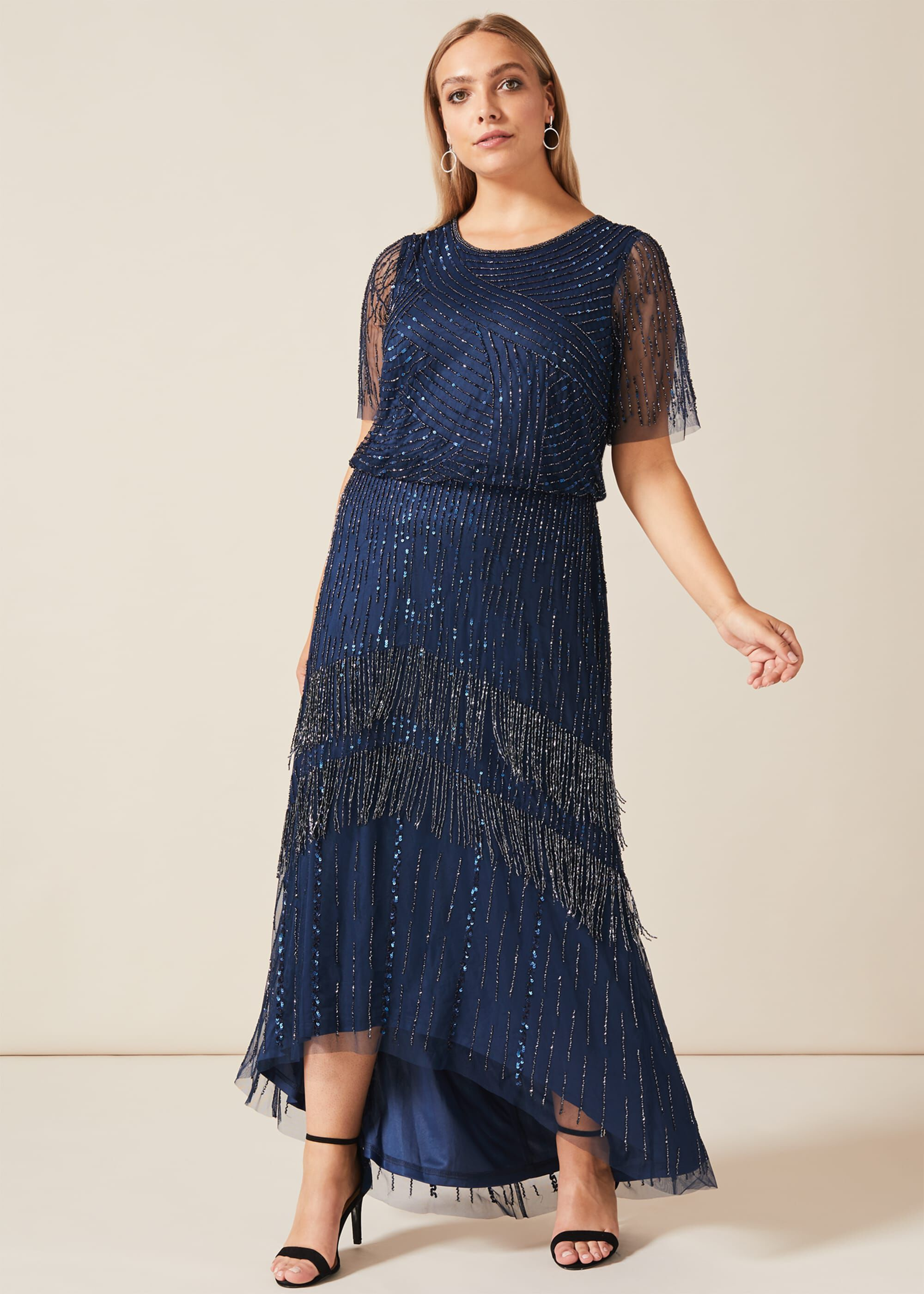 Studio 8 Evadine Beaded Maxi Dress, Blue, Maxi, Occasion Dress