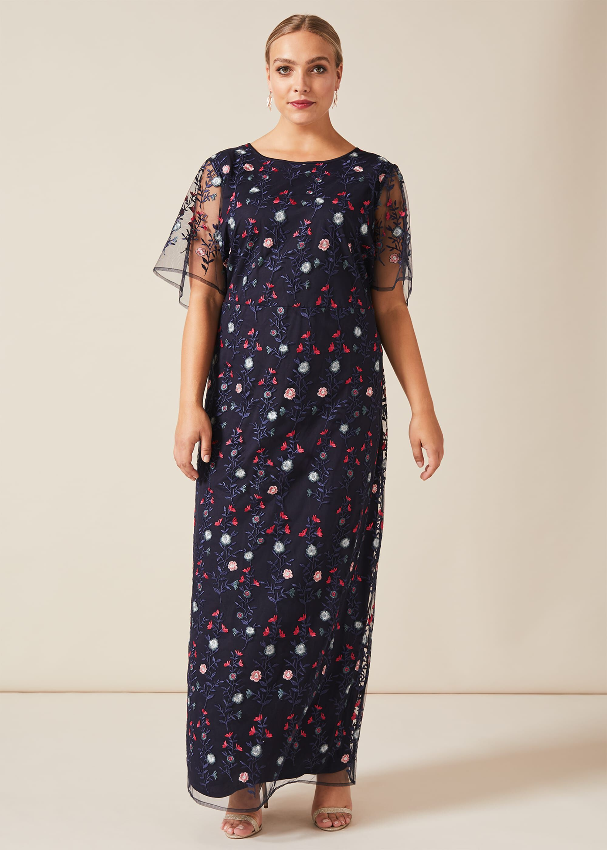 Studio 8 Emily Embroidered Maxi Dress, Blue, Maxi, Occasion Dress