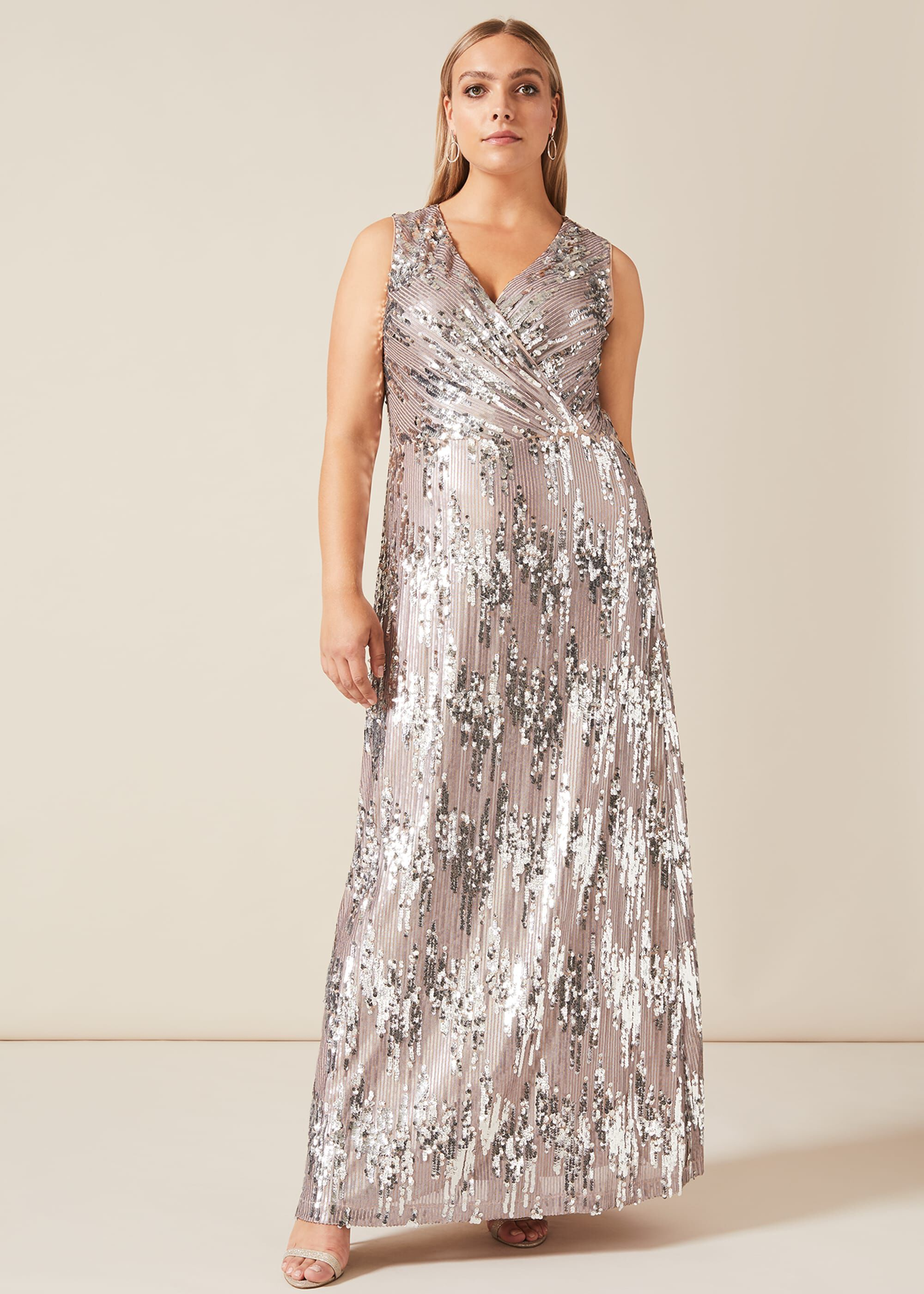 Studio 8 Daphne Sequin Maxi Dress, Metallic, Maxi, Occasion Dress