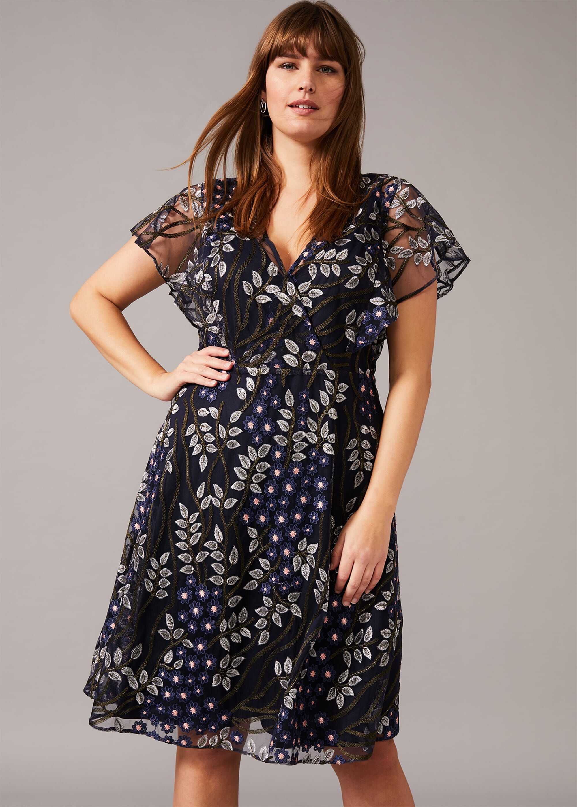 Studio 8 Ida Floral Embroidered Dress, Blue, Fit & Flare, Occasion Dress